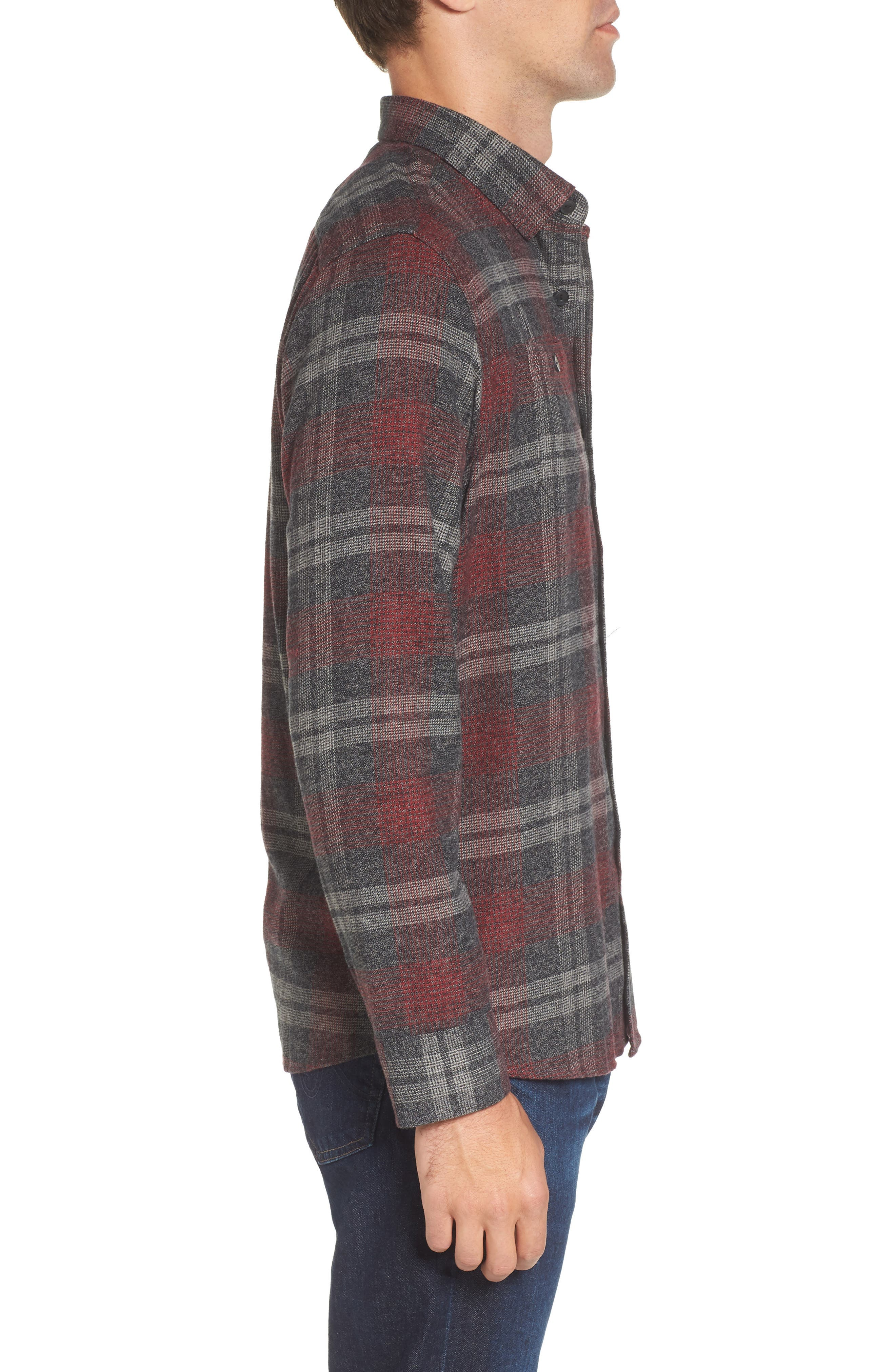 Marston Lux Plaid Flannel Shirt,                             Alternate thumbnail 3, color,                             Charcoal Burgundy