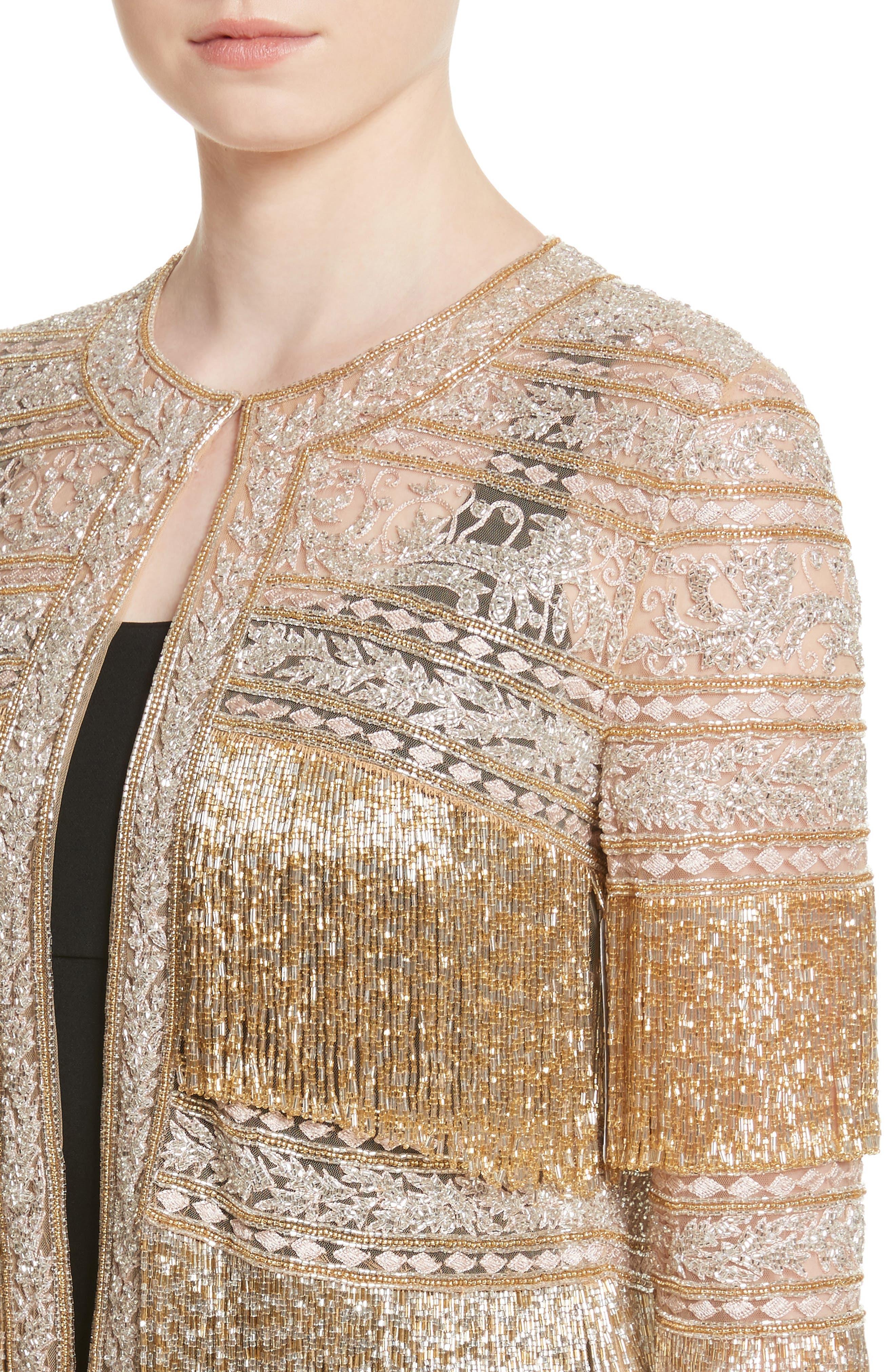 Sequin Fringe Jacket,                             Alternate thumbnail 4, color,                             Gold