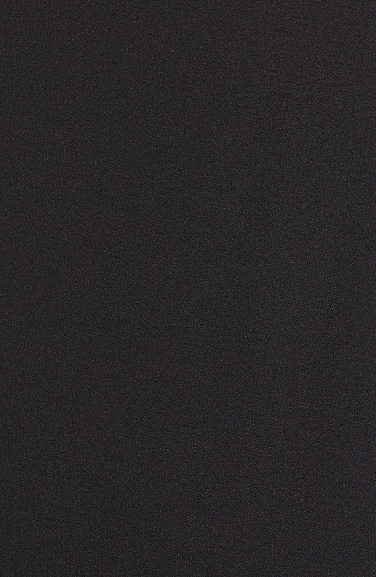 Ruffle Back Crepe Sheath Dress,                             Alternate thumbnail 5, color,                             Black