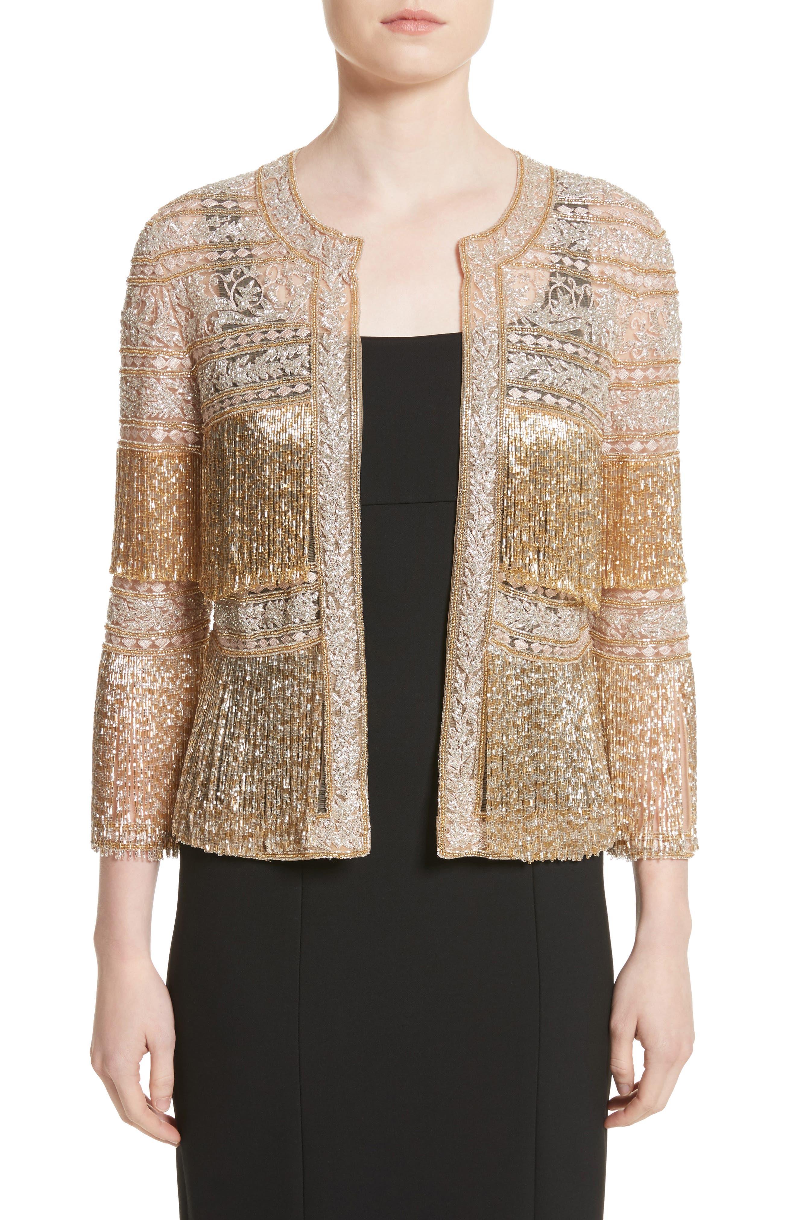 Sequin Fringe Jacket,                         Main,                         color, Gold
