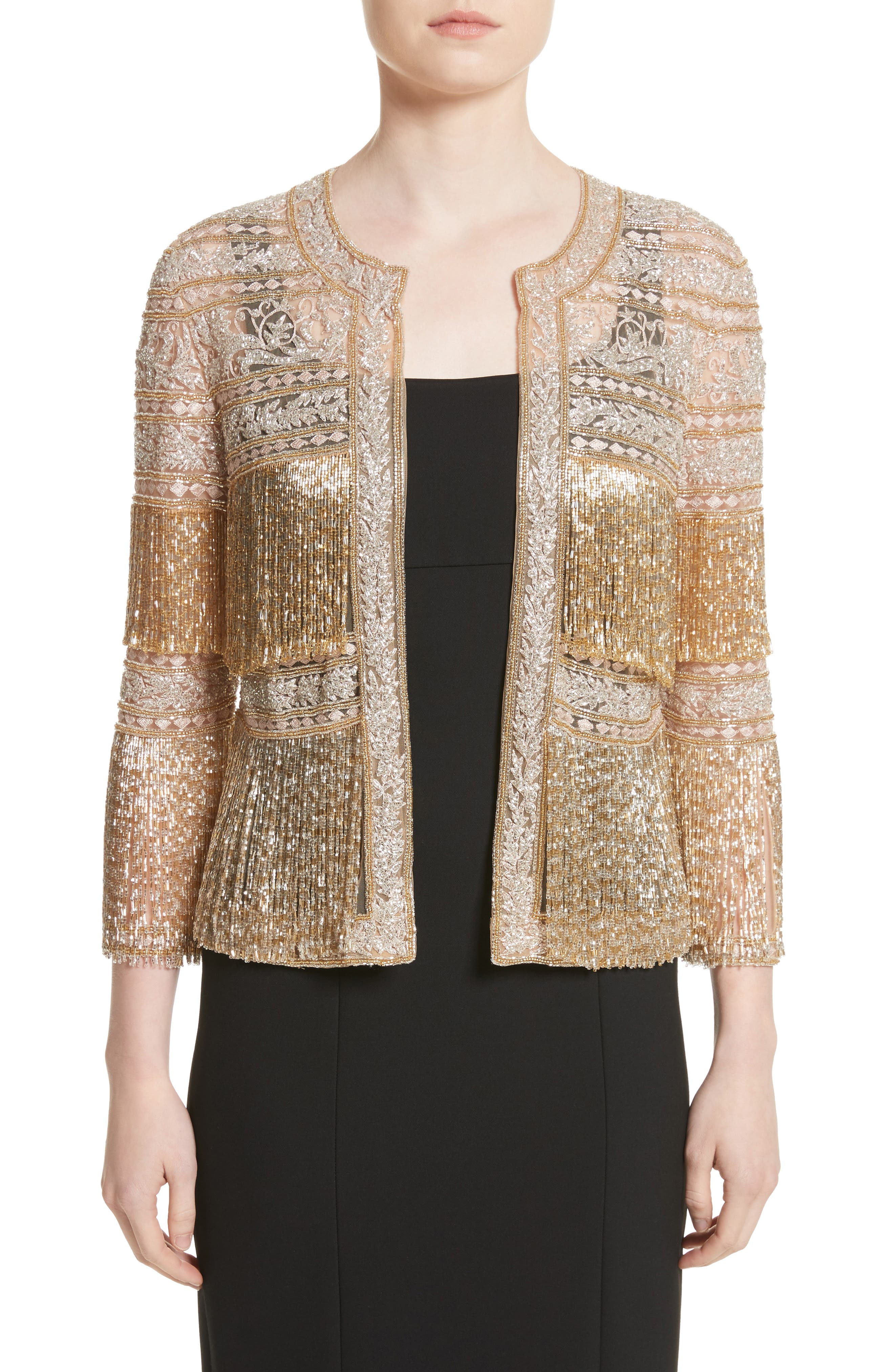 Naeem Khan Sequin Fringe Jacket
