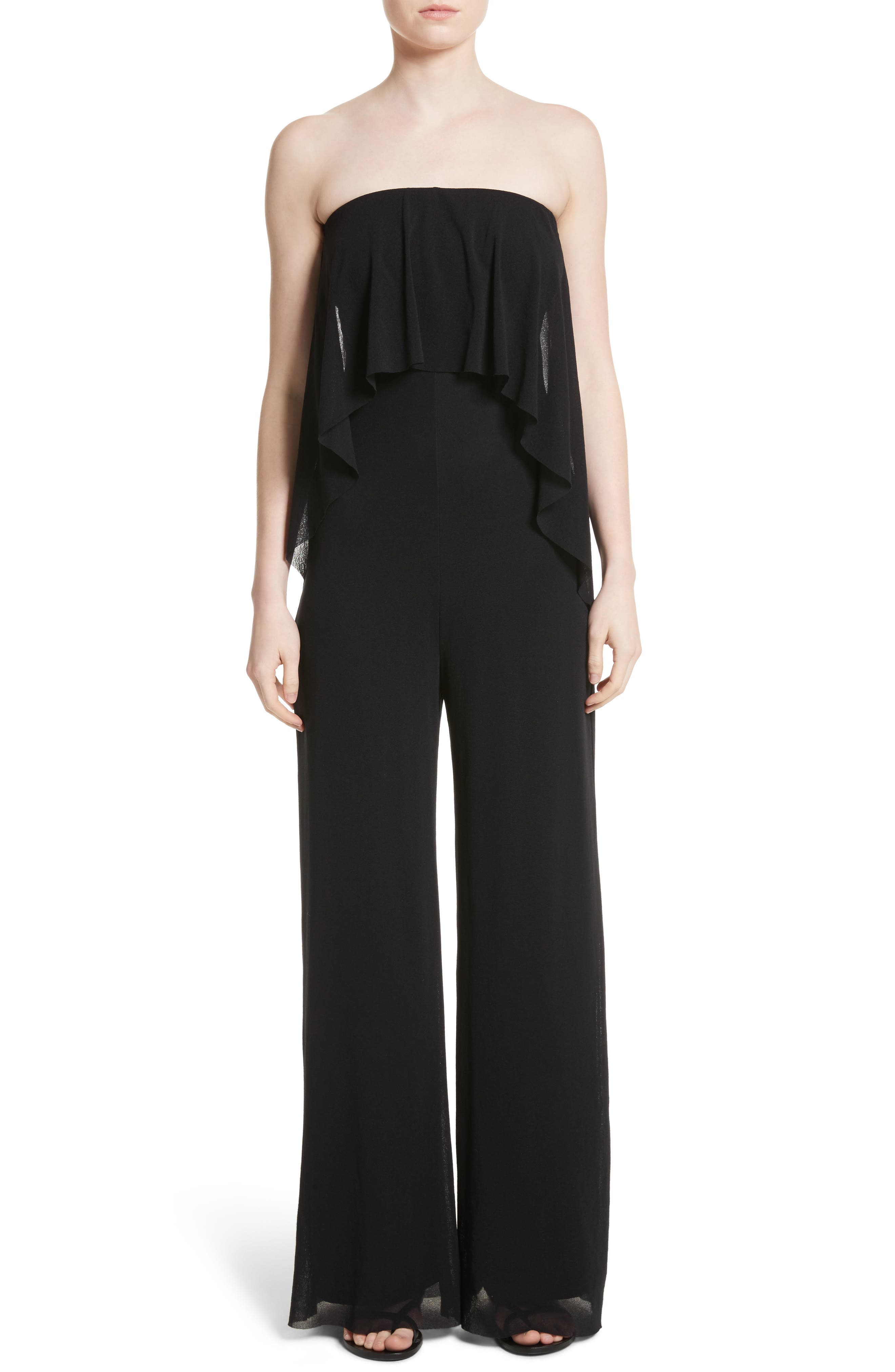 Popover Strapless Floral Print Tulle Jumpsuit,                         Main,                         color, Nero