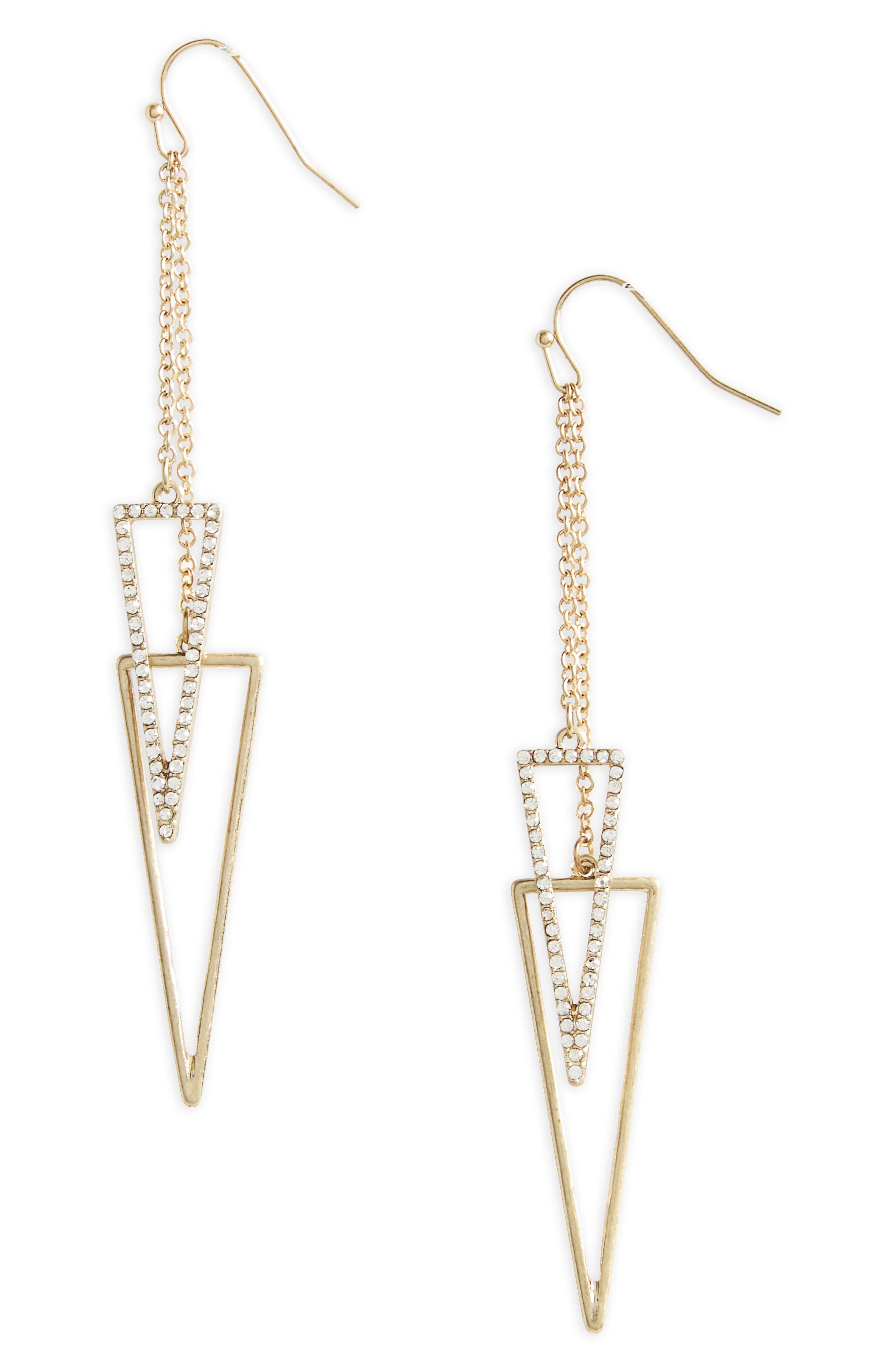 Canvas Pavé Crystal Drop Earrings,                         Main,                         color, Gold