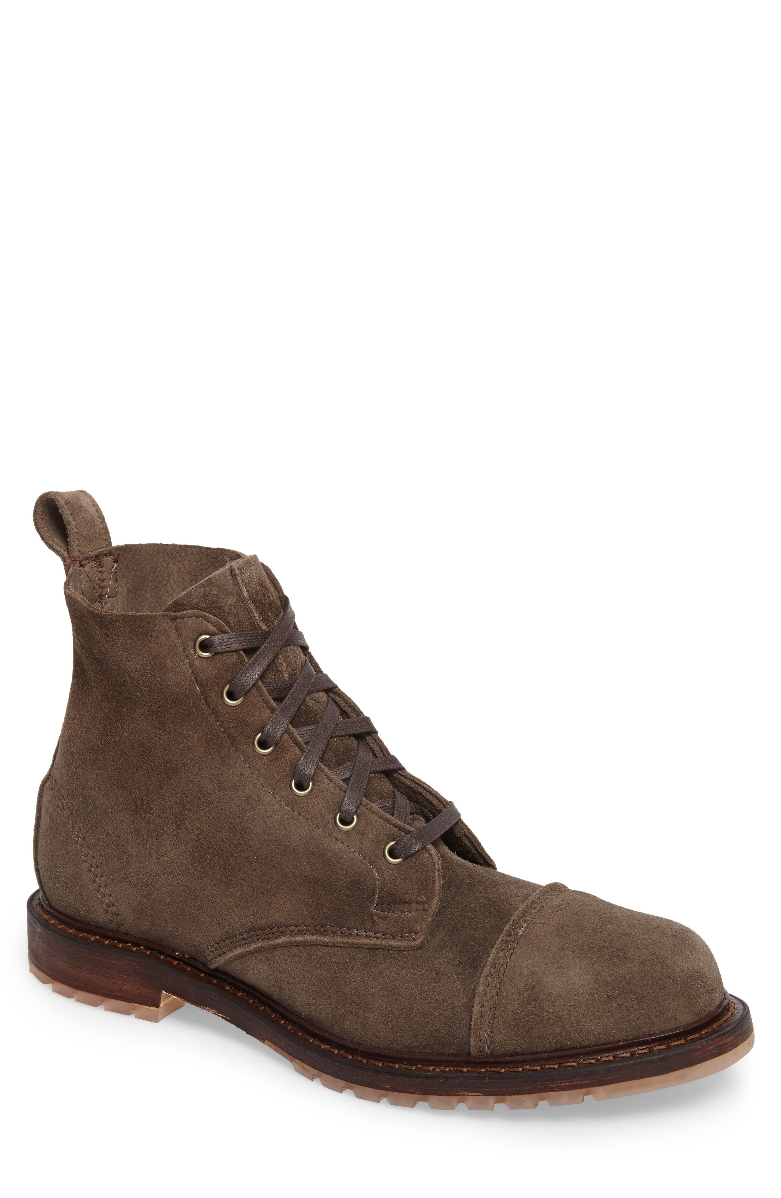 Caen Cap Toe Boot,                             Main thumbnail 1, color,                             Taupe Leather