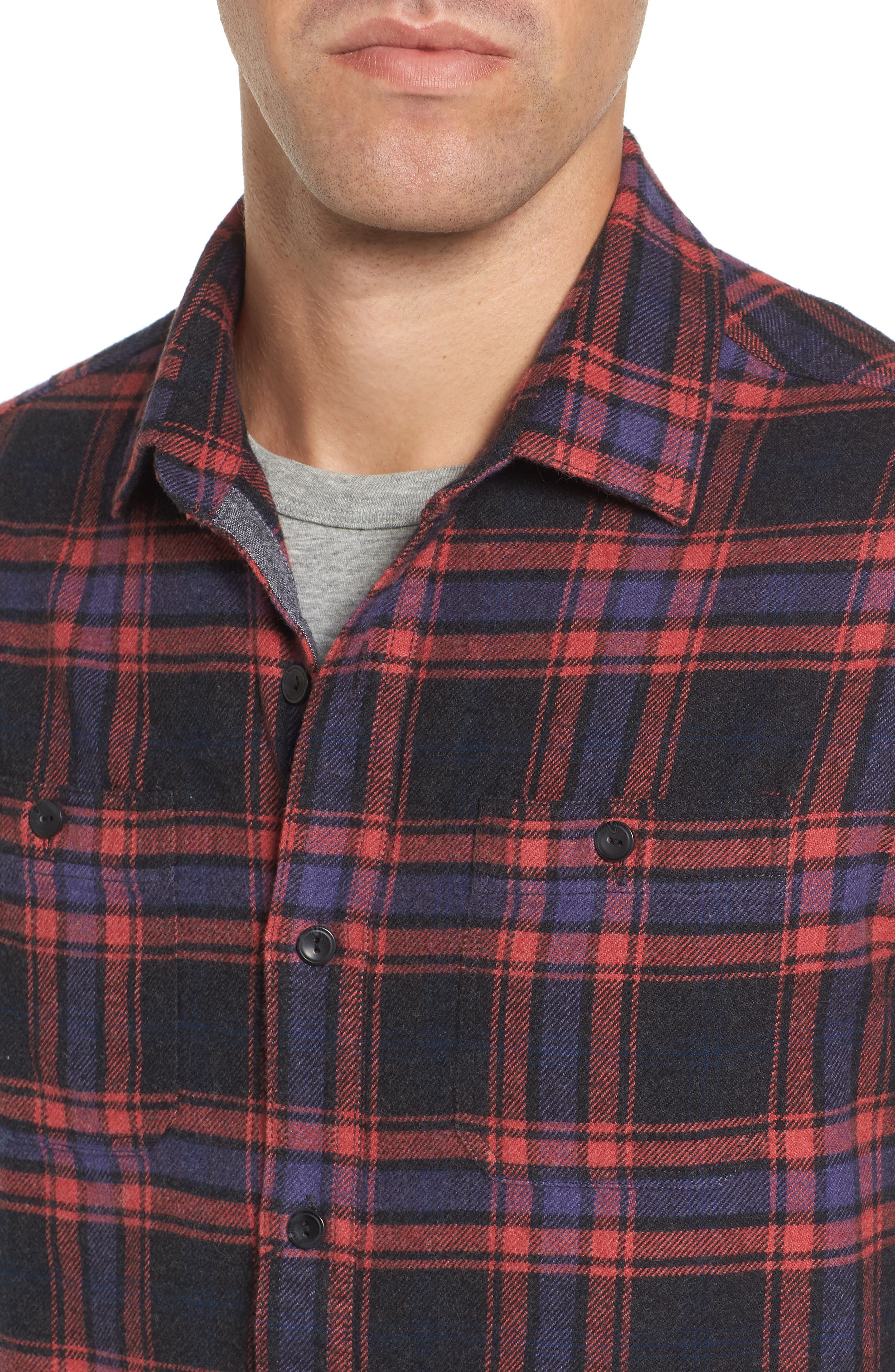 Chaucer Heritage Flannel Shirt,                             Alternate thumbnail 4, color,                             Charcoal Red