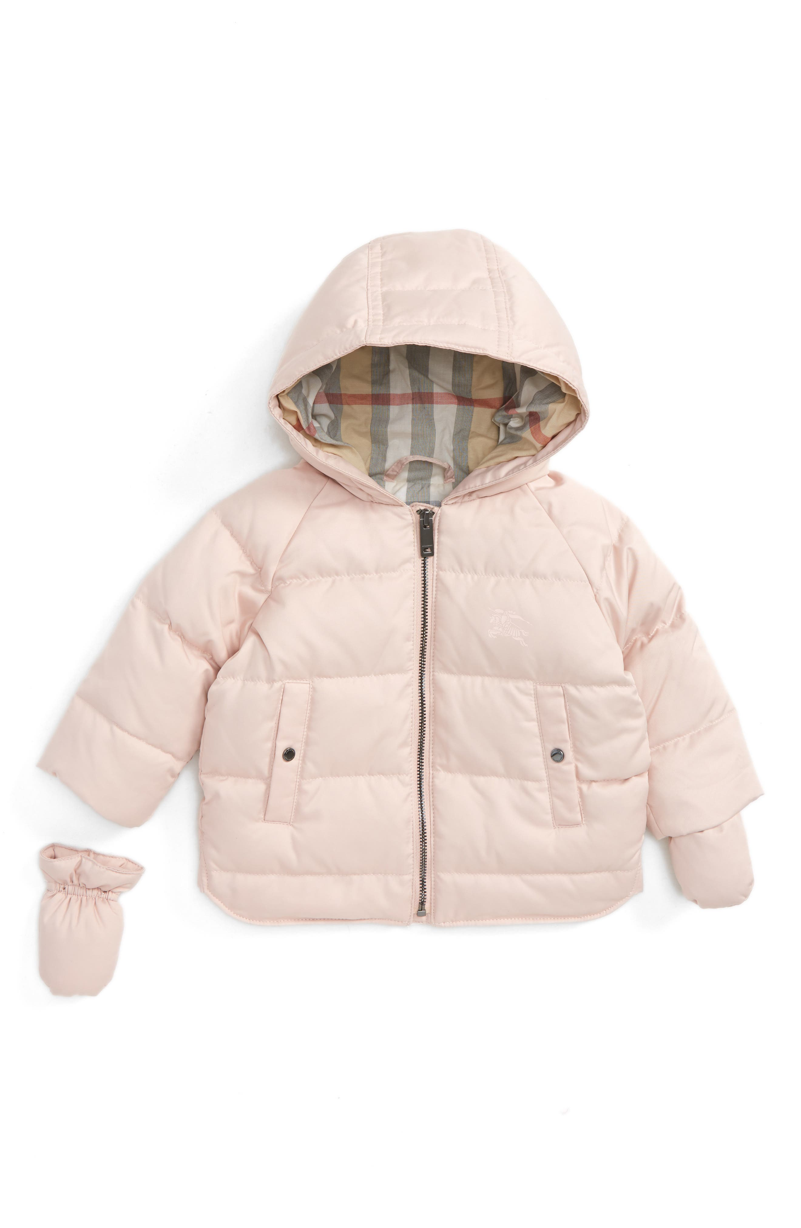 Main Image - Burberry Rilla Hooded Down Jacket with Mittens (Baby Girls)