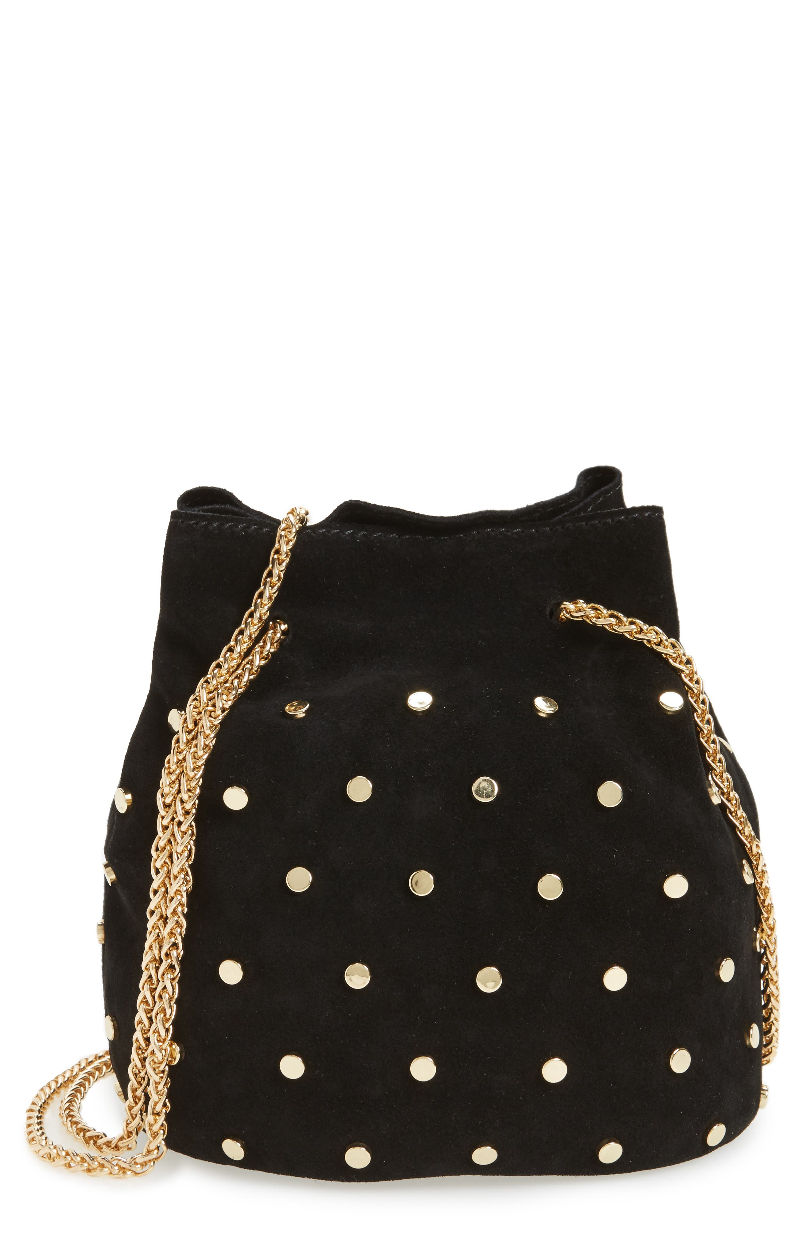 Street Level Studded Suede Chain Crossbody Bag
