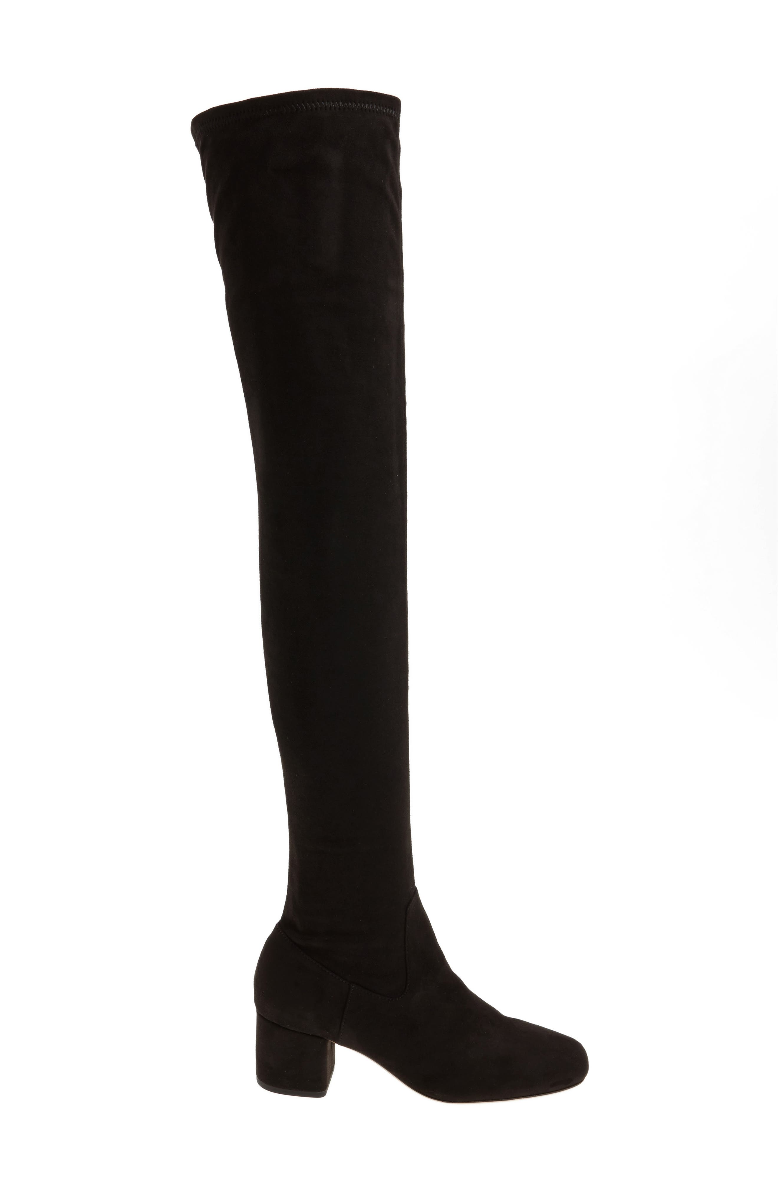 Amani Over the Knee Boot,                             Alternate thumbnail 3, color,                             Black Suede