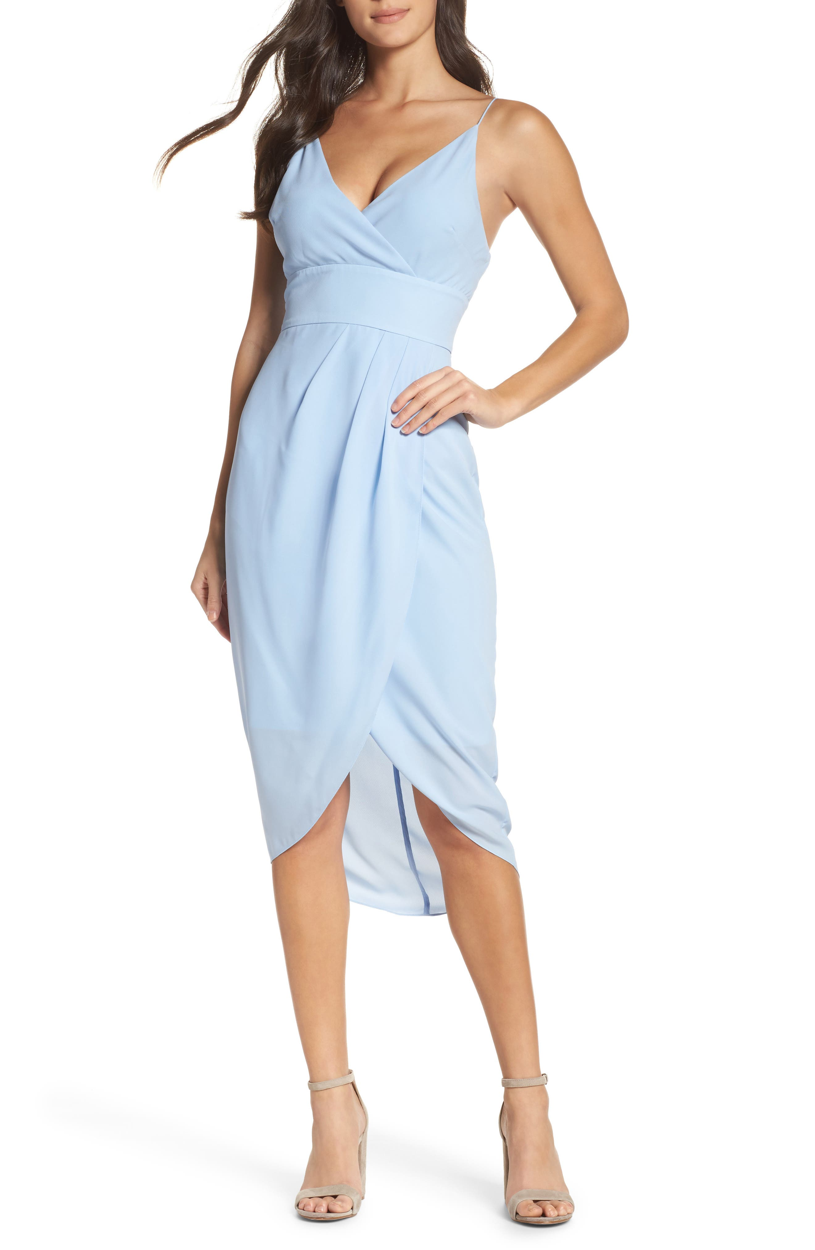 Lily Drape Sheath Dress,                             Main thumbnail 1, color,                             Pale Blue