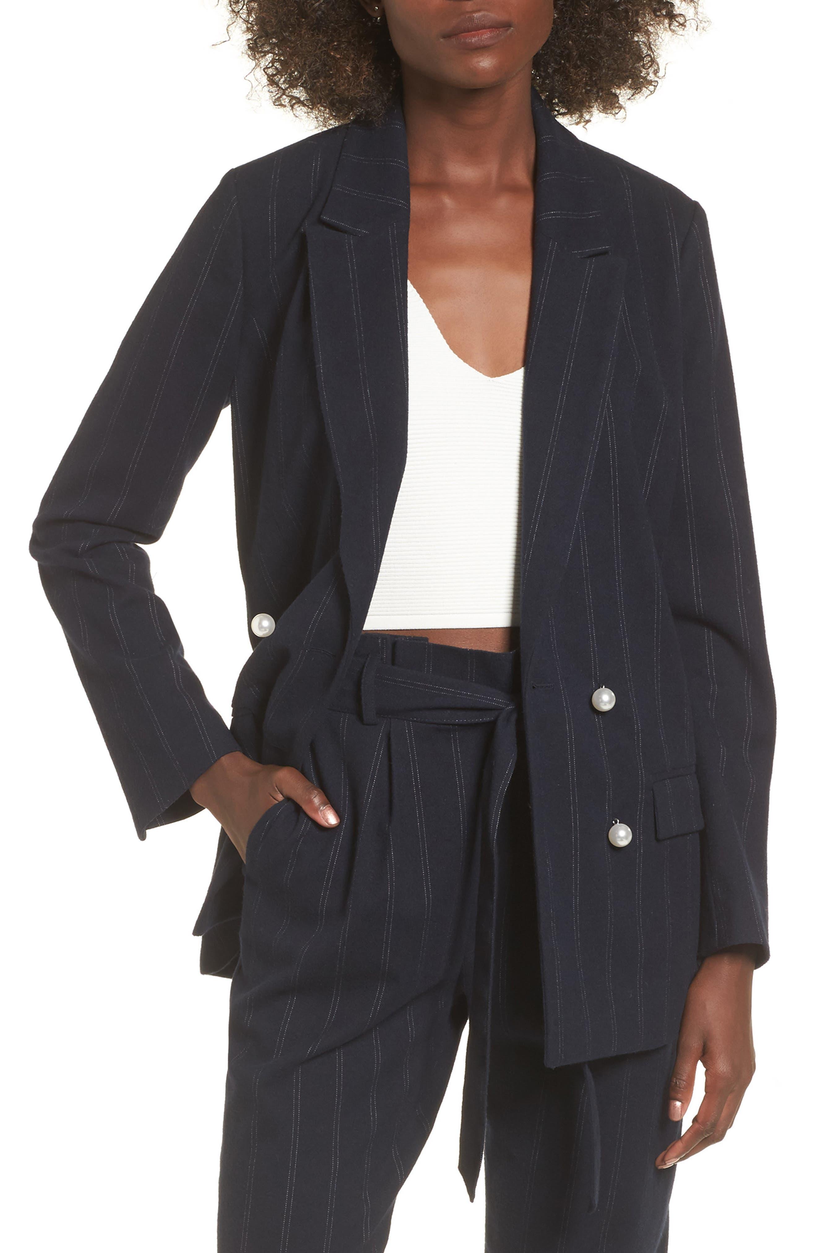 Pinstripe Jacket,                             Main thumbnail 1, color,                             Navy Evening Ticking Stripe