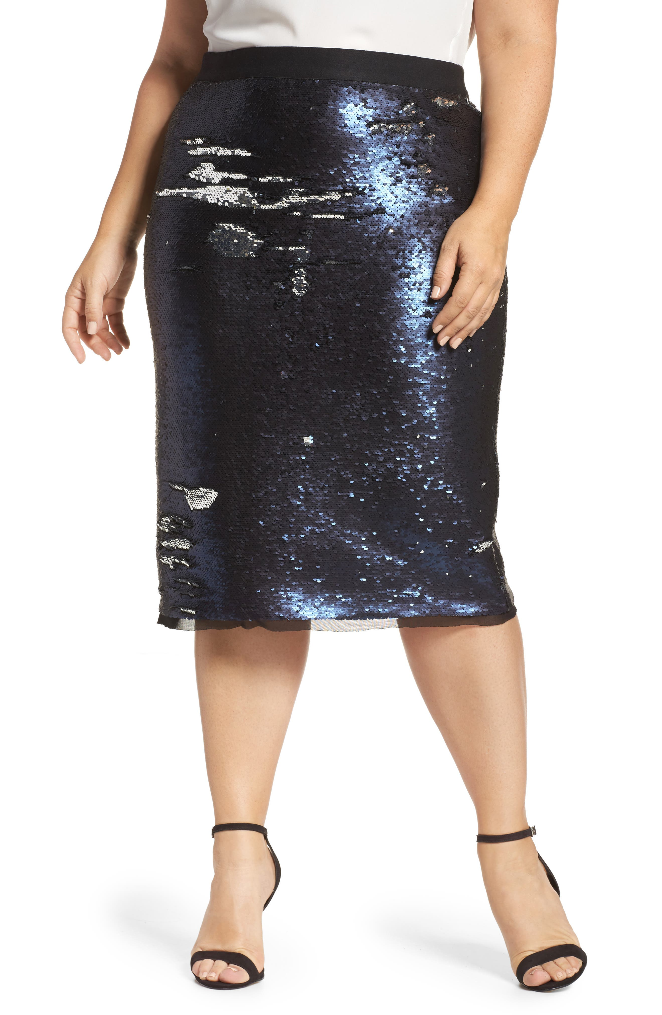 REBEL WILSON X ANGELS Sequin Mesh Pencil Skirt (Plus Size)