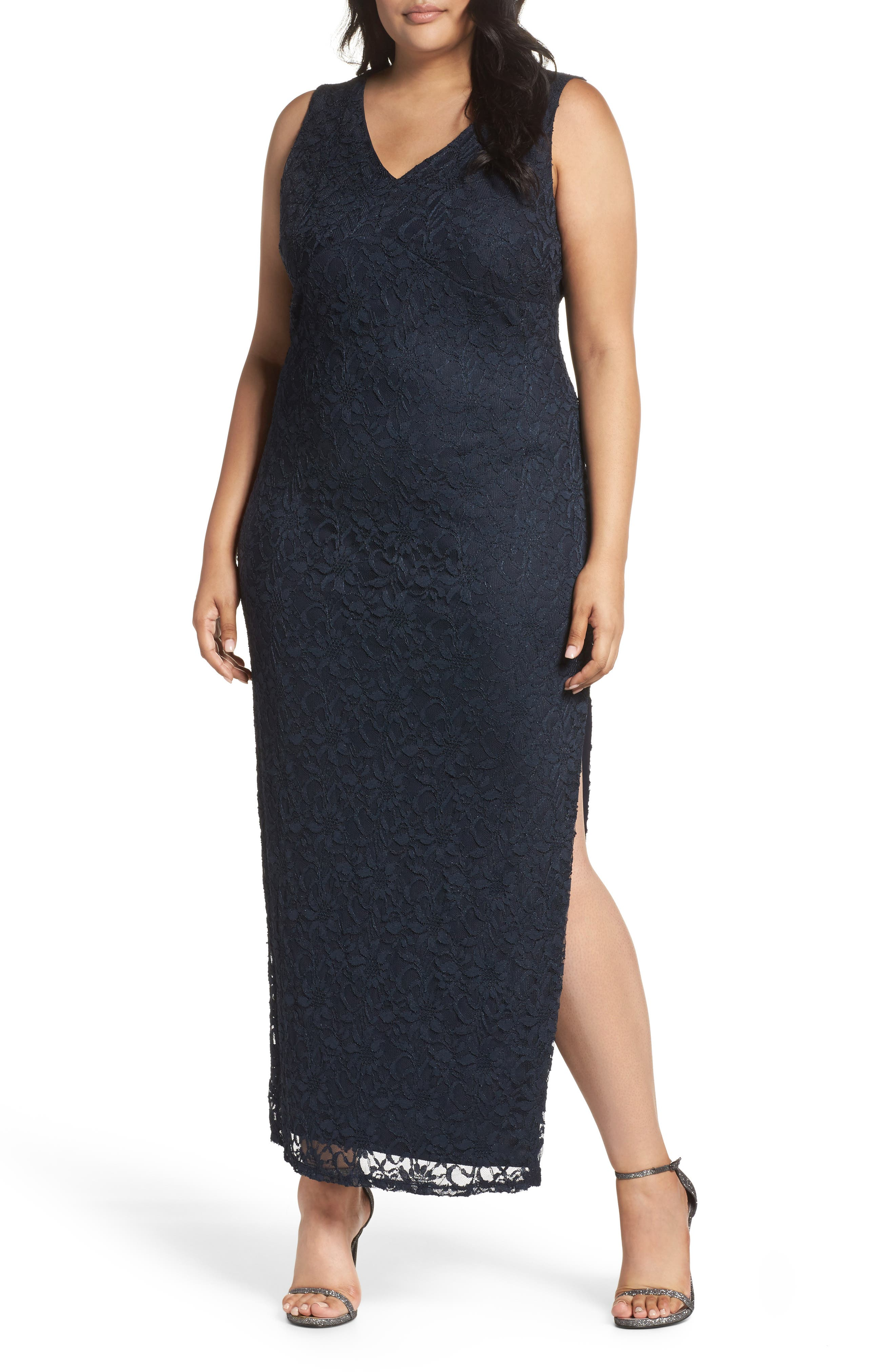 Main Image - Marina Cutout Back Lace Empire Gown (Plus Size)
