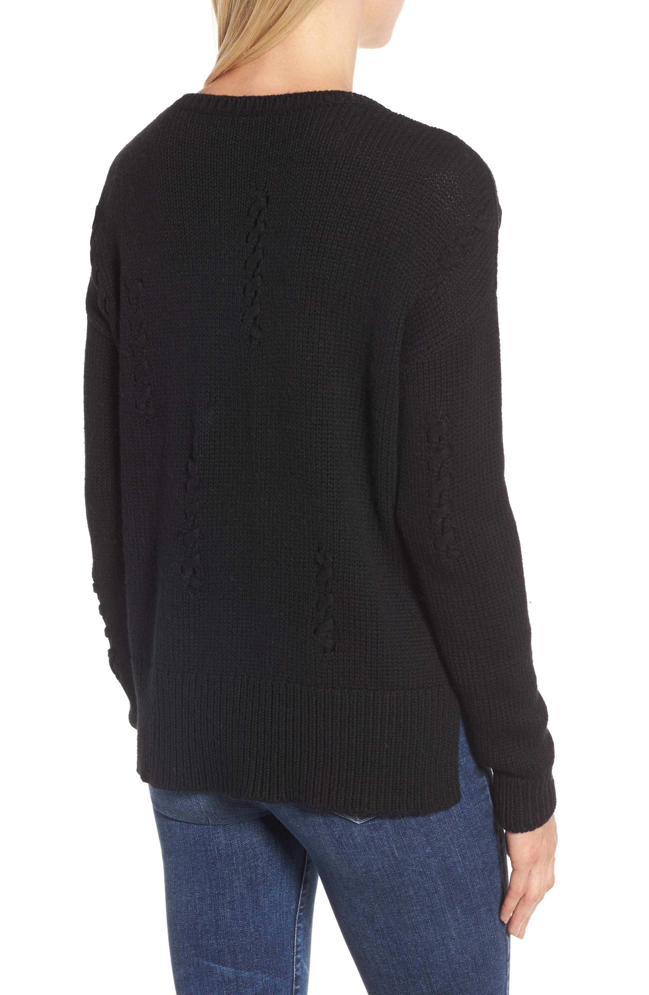 Whipstitch Detail Sweater,                             Alternate thumbnail 2, color,                             Black