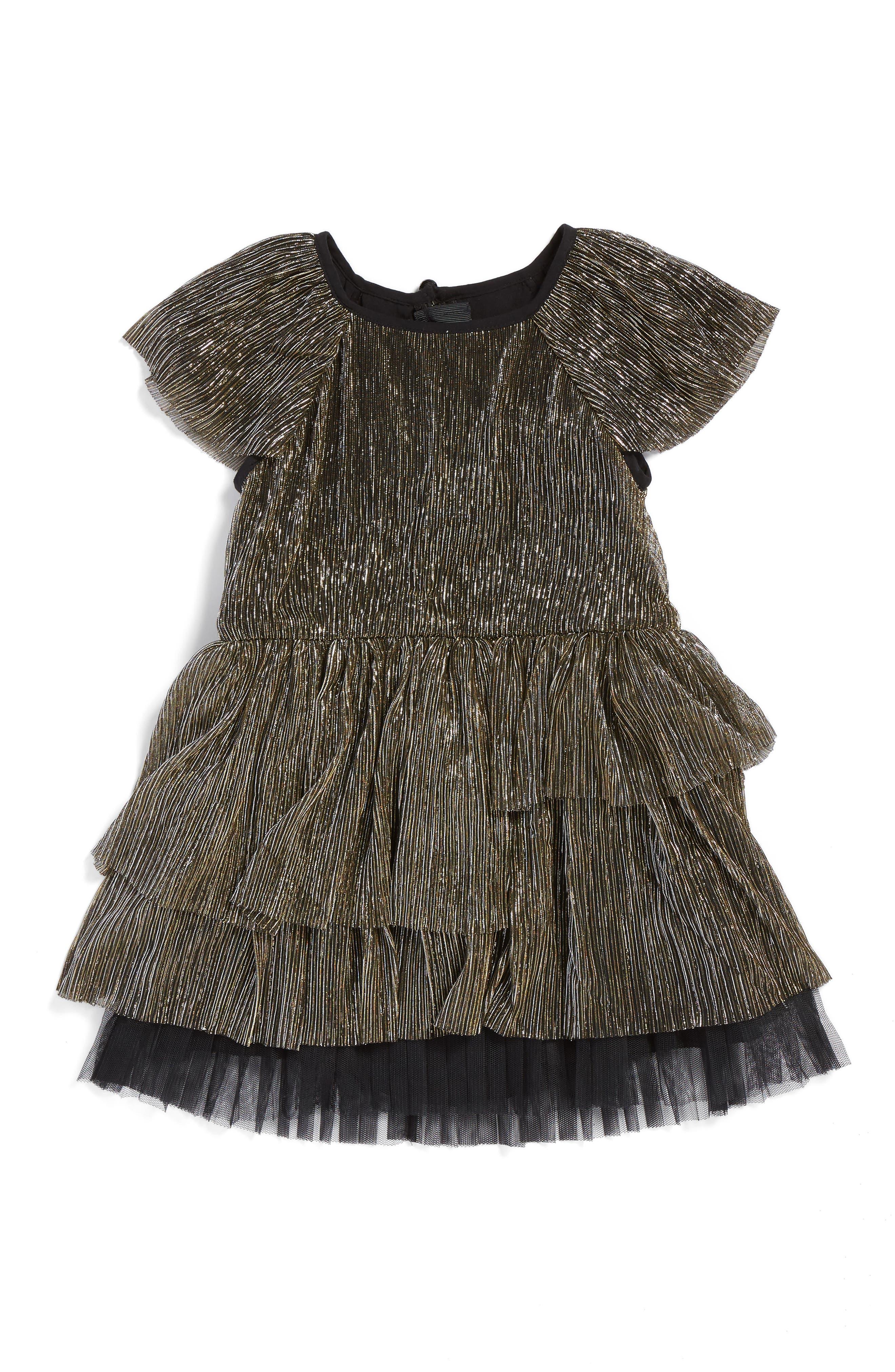 Main Image - LITTLE MARC JACOBS Ruffle Metallic Dress (Toddler Girls, Little Girls & Big Girls)