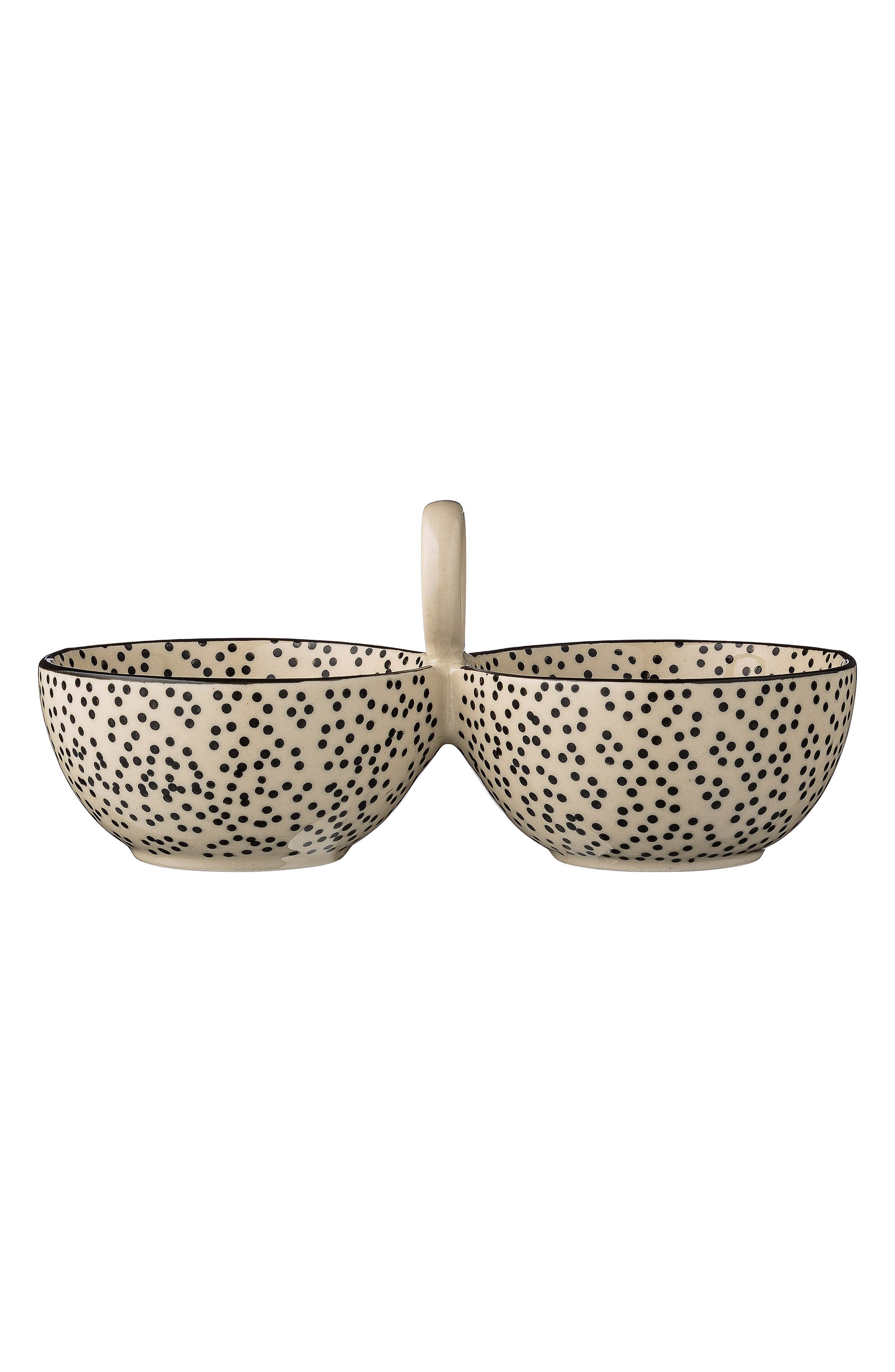 Julie Ceramic Double Bowl,                         Main,                         color, White