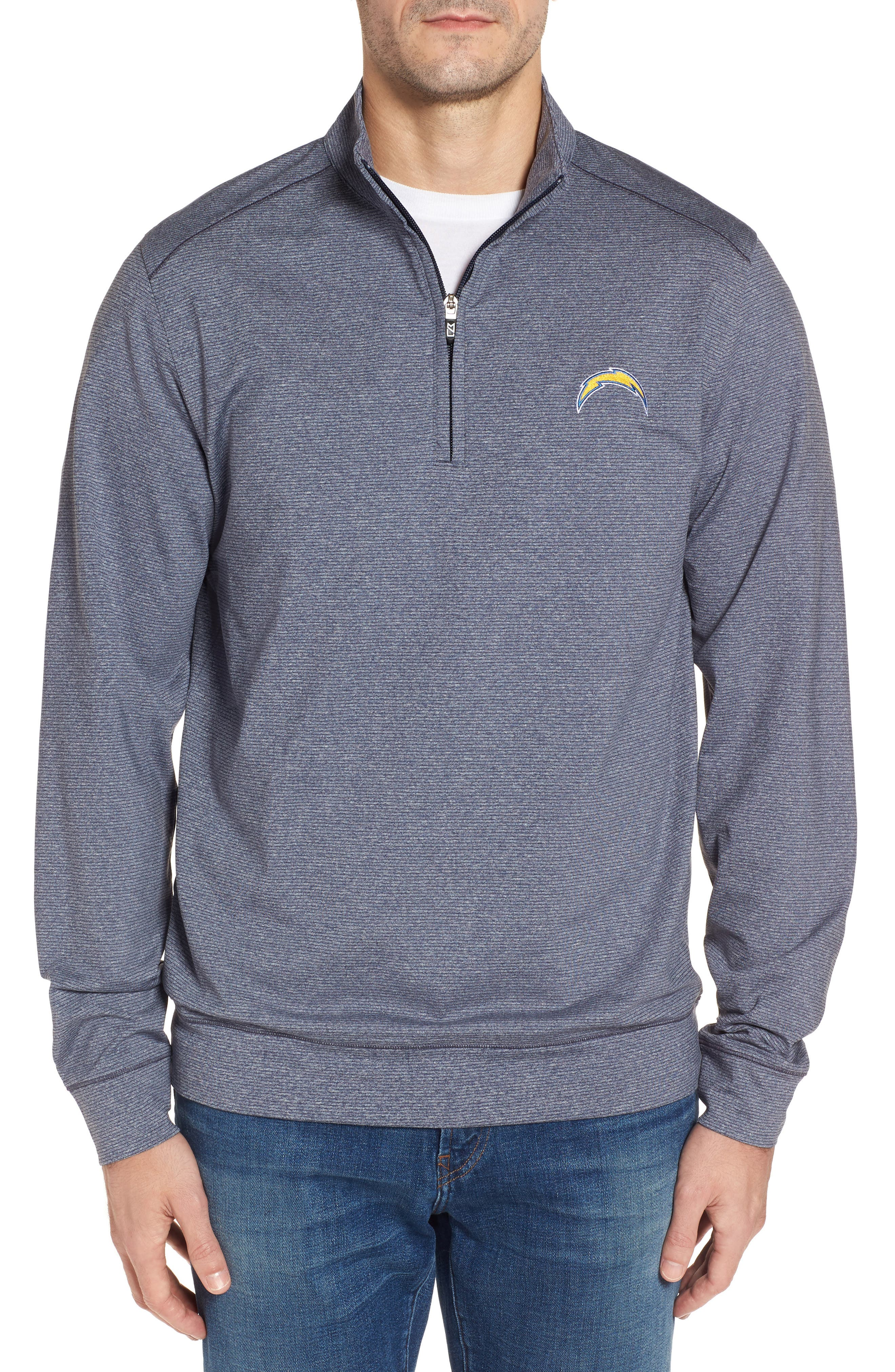 Shoreline - Los Angeles Chargers Half Zip Pullover,                             Main thumbnail 1, color,                             Liberty Navy Heather