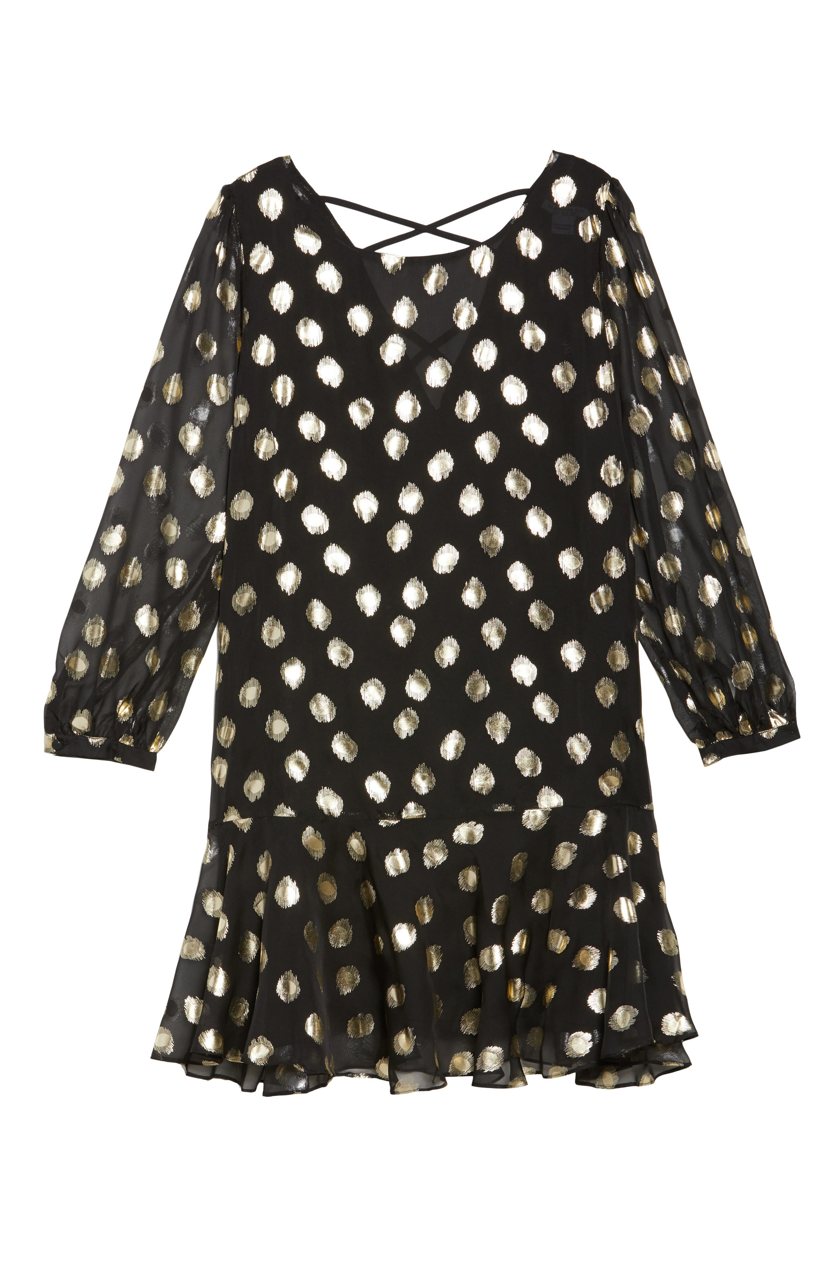 Metallic Dot Drop Waist Dress,                             Alternate thumbnail 7, color,                             Black Gold Spot