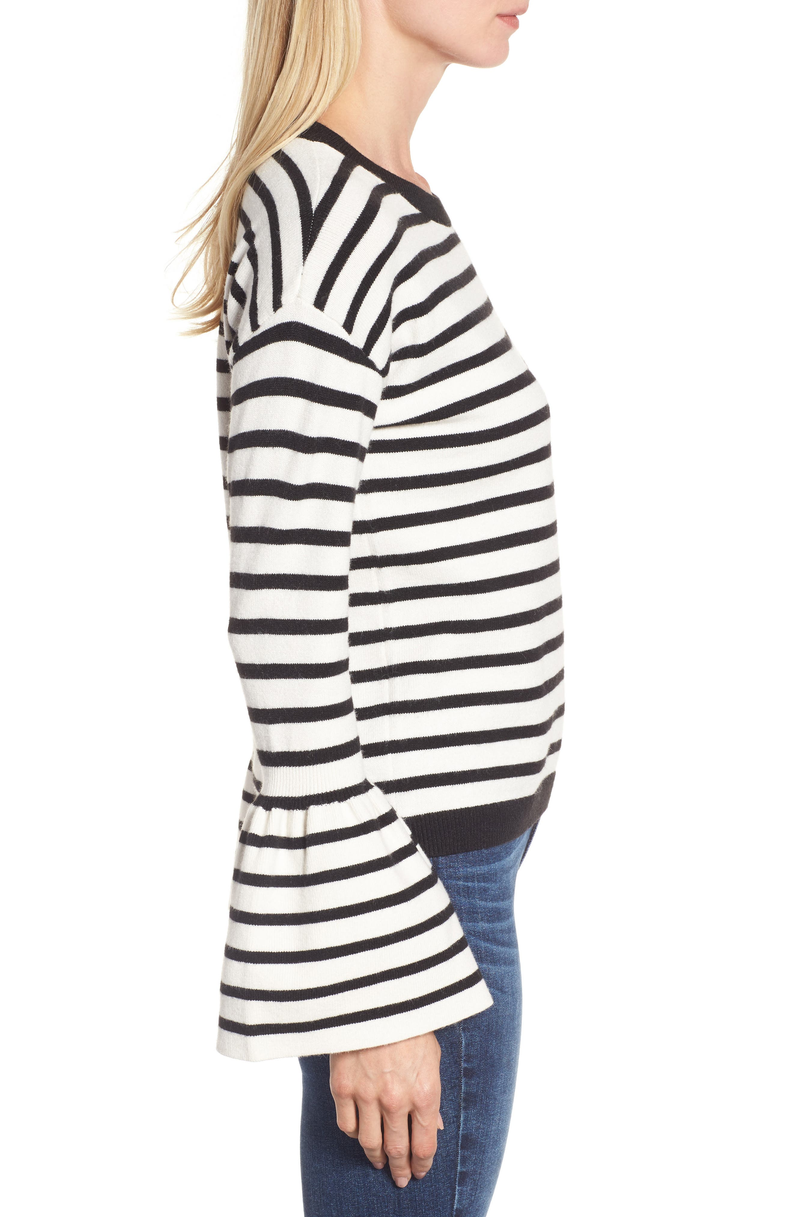 Bell Sleeve Sweater,                             Alternate thumbnail 3, color,                             Black- Ivory Stripe
