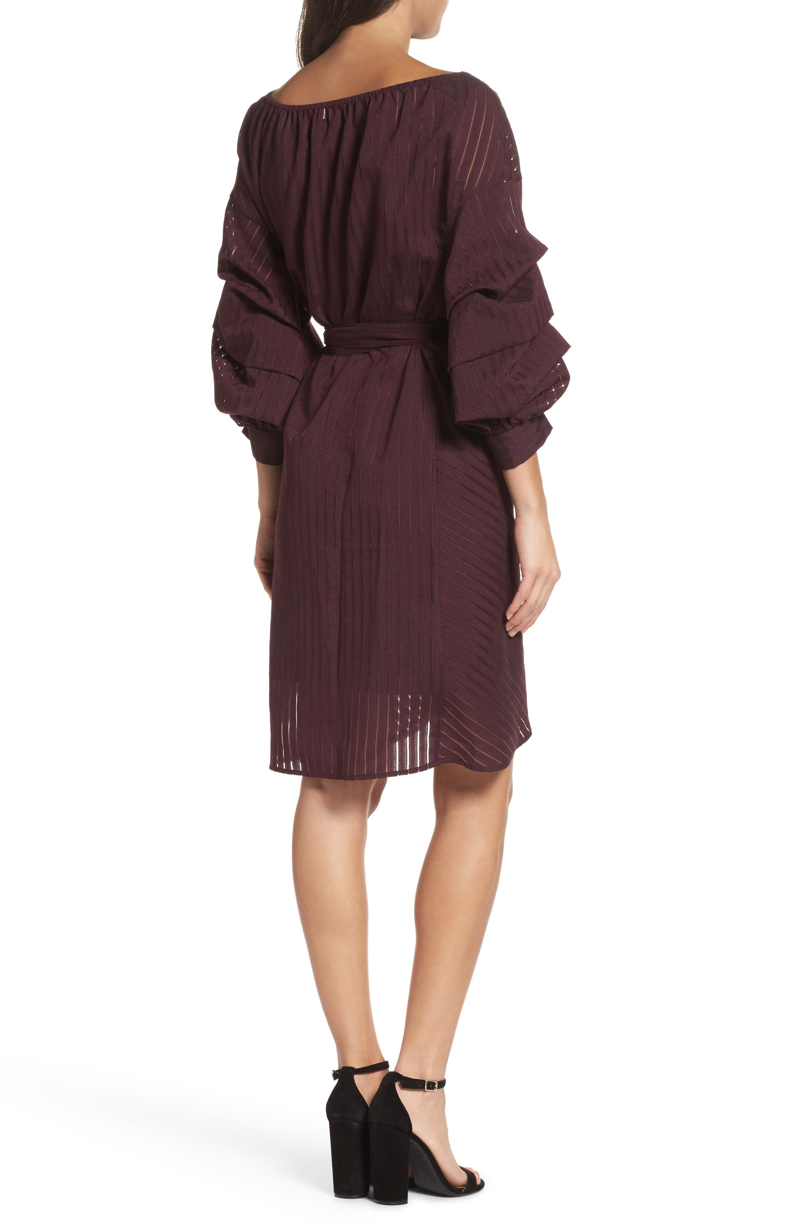 Shadow Stripe Wrap Dress,                             Alternate thumbnail 2, color,                             Burgundy Stem