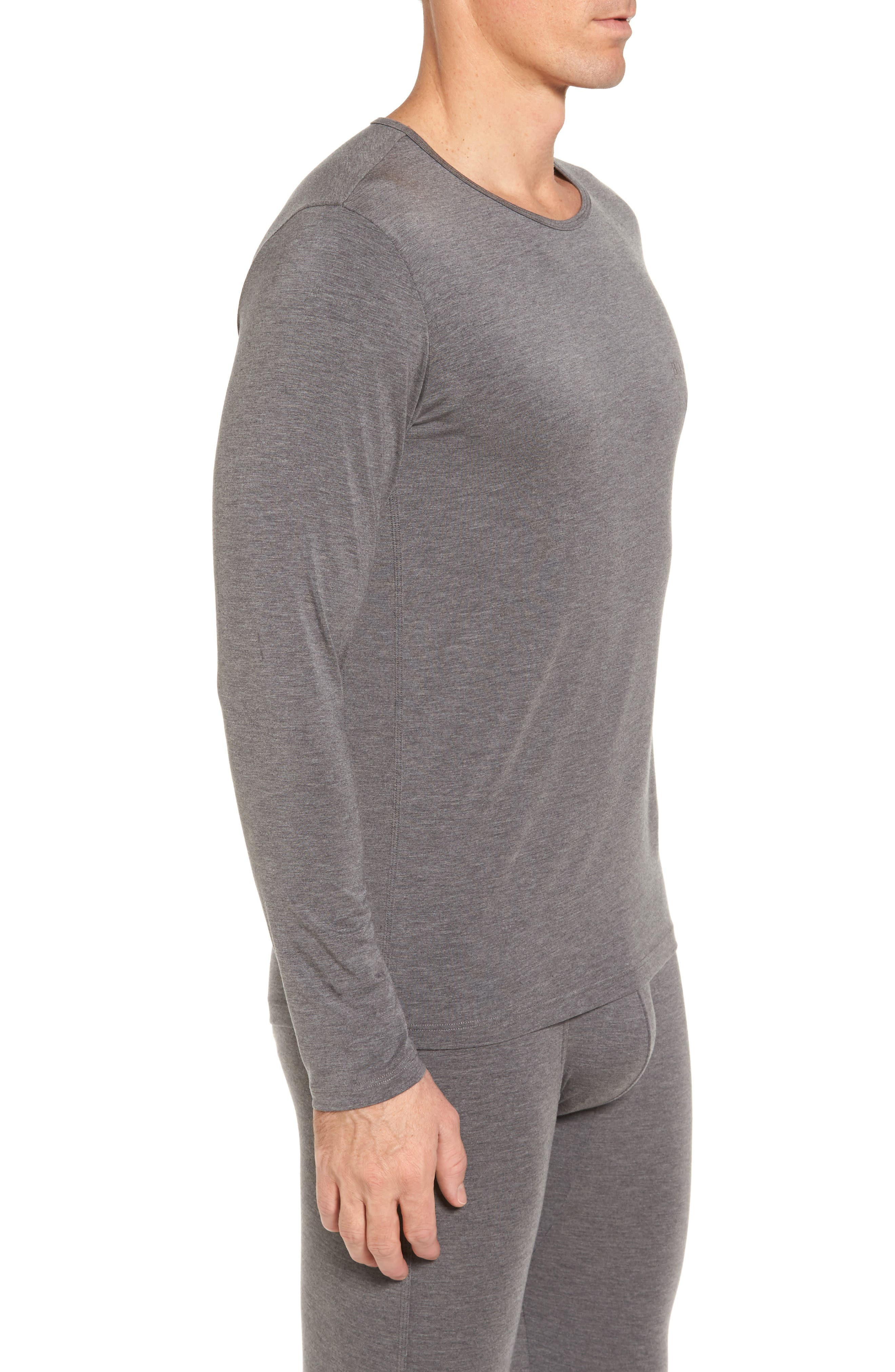 Thermal Long Sleeve T-Shirt,                             Alternate thumbnail 3, color,                             Charcoal