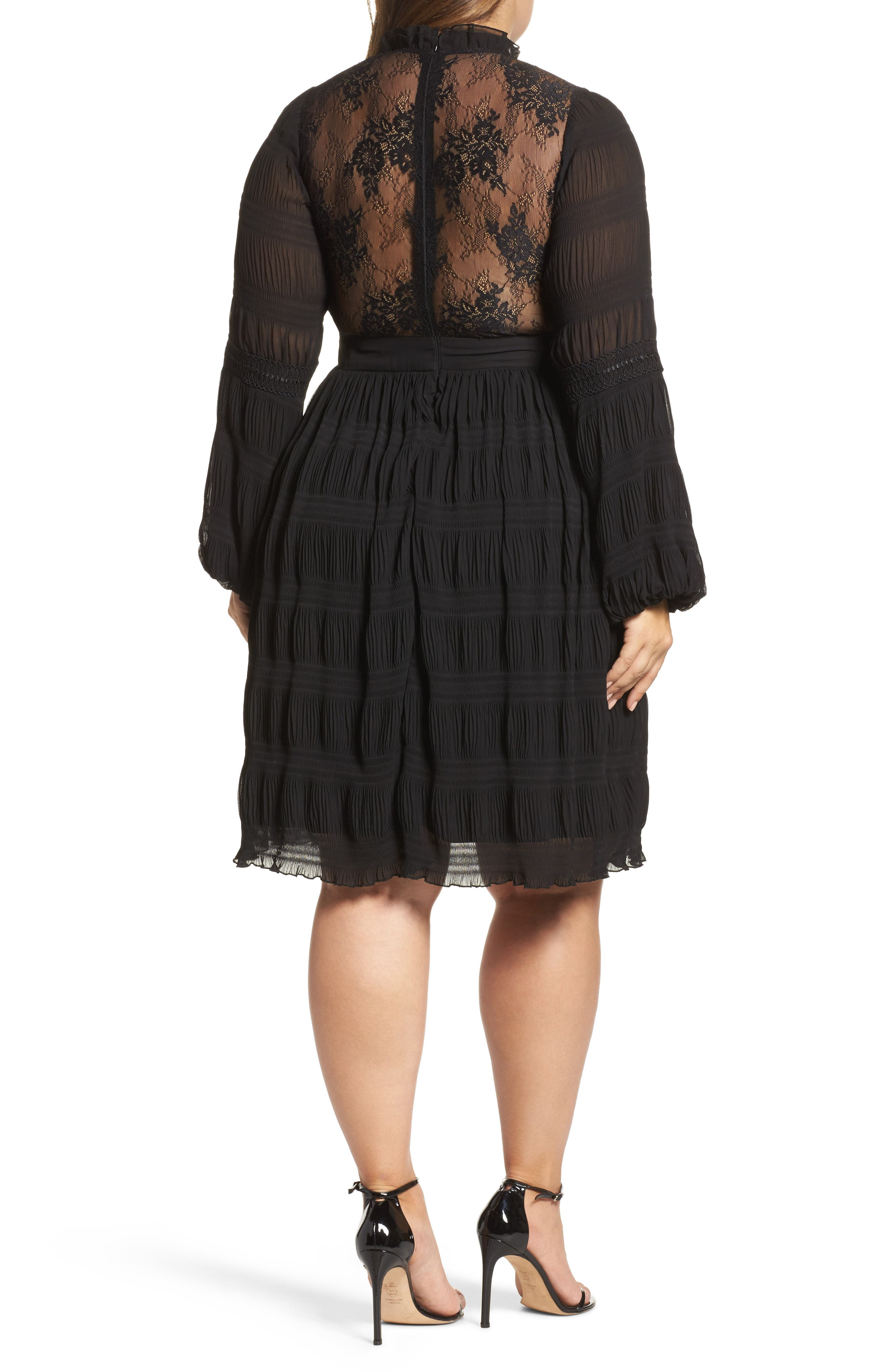 Alternate Image 3  - LOST INK Lace Back Skater Dress (Plus Size)