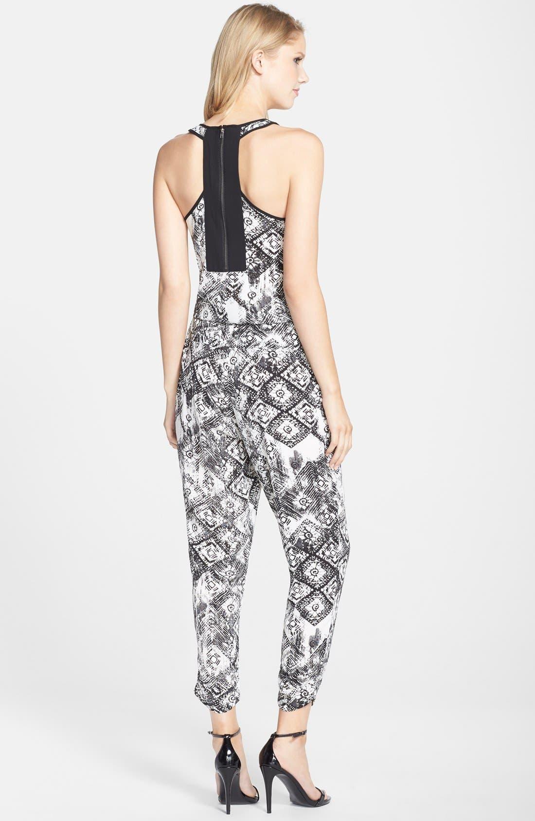 Print Crepe Jumpsuit,                             Alternate thumbnail 2, color,                             Black/ White