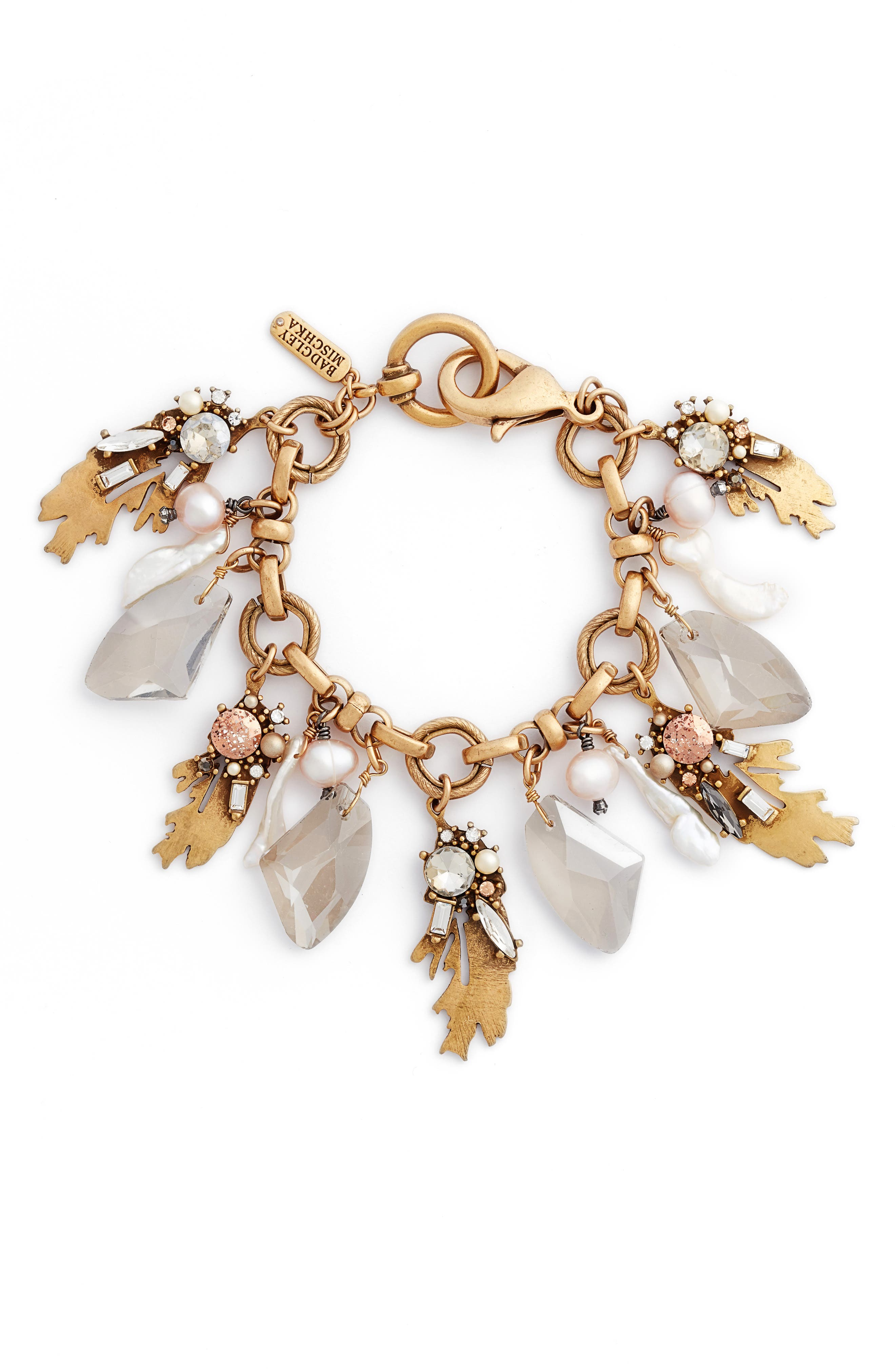 Alternate Image 1 Selected - Badgley Mischka Crystal & Pearl Bracelet