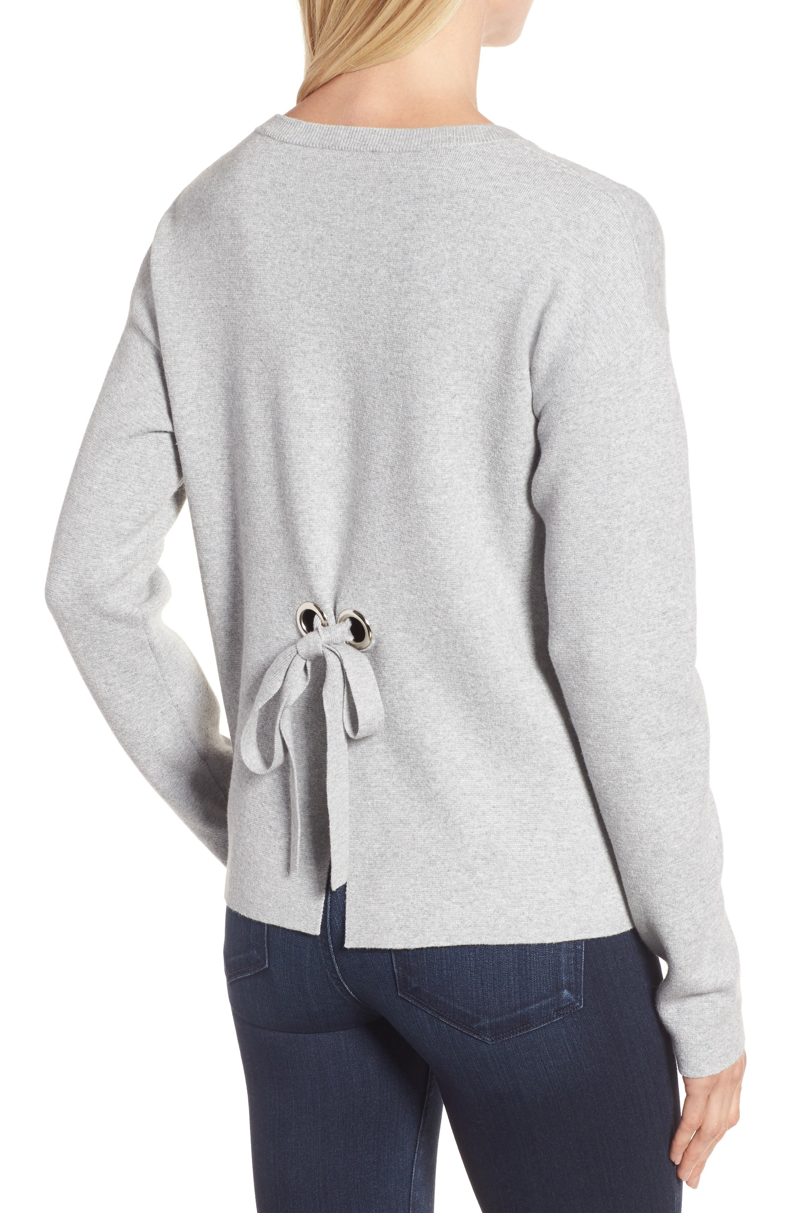 Tie Back Sweater,                             Alternate thumbnail 2, color,                             Heather Grey