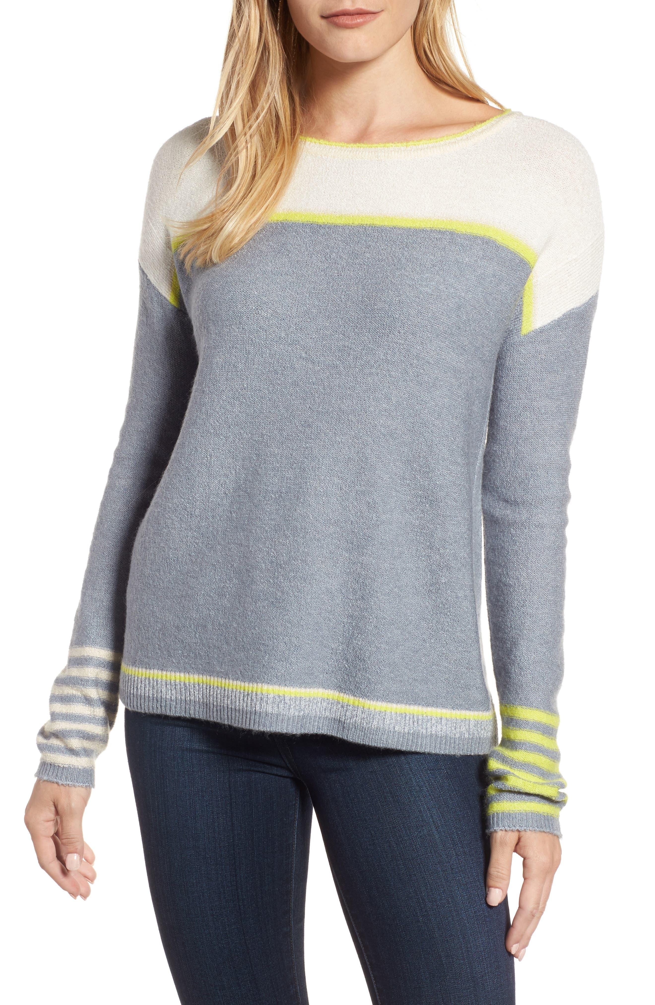 Caslon® Button Back Sweater (Regular & Petite)