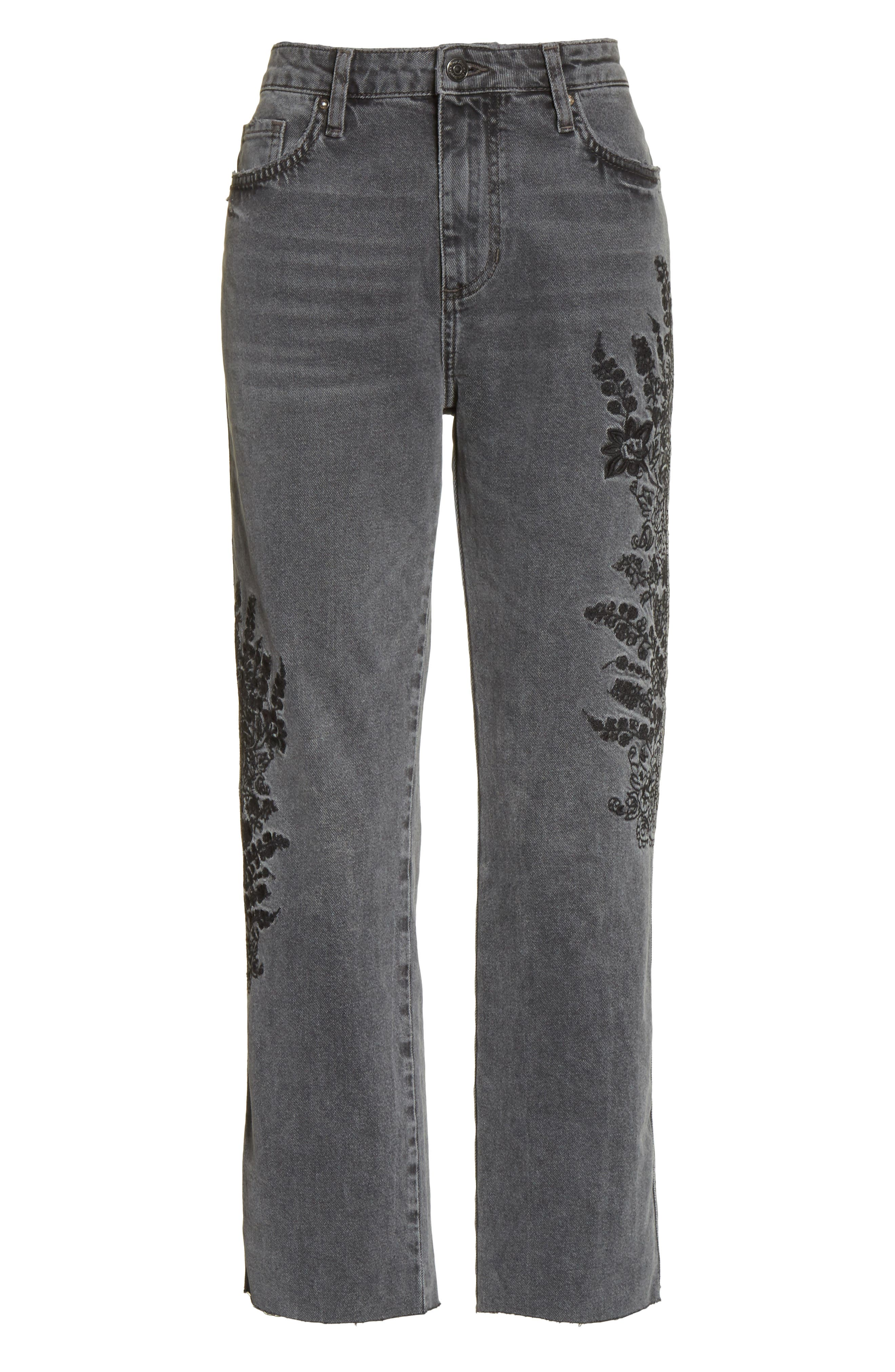Embroidered Crop Girlfriend Jeans,                             Alternate thumbnail 6, color,                             Grey
