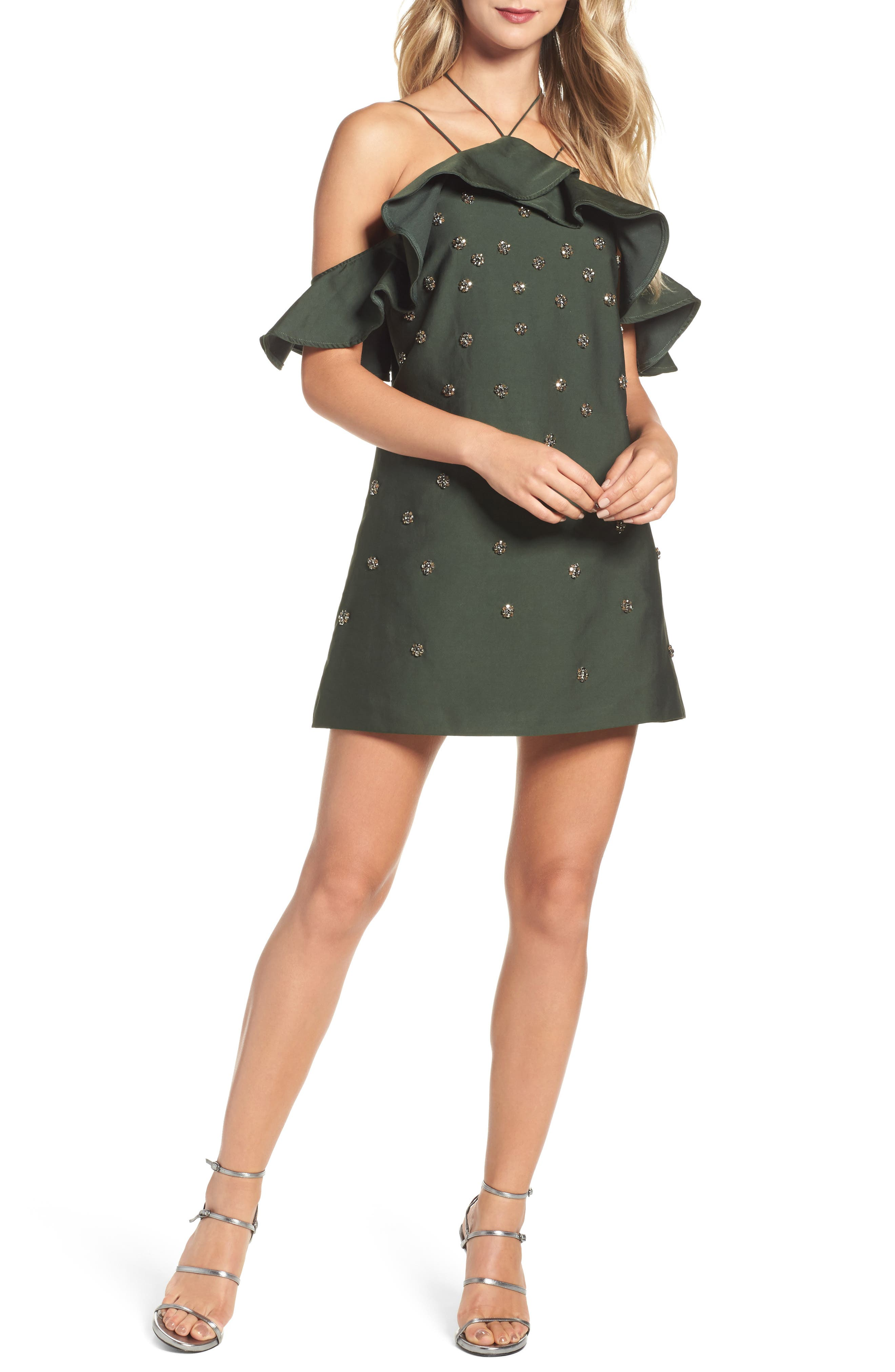 Assemble Embellished Shift Dress,                         Main,                         color, Forest