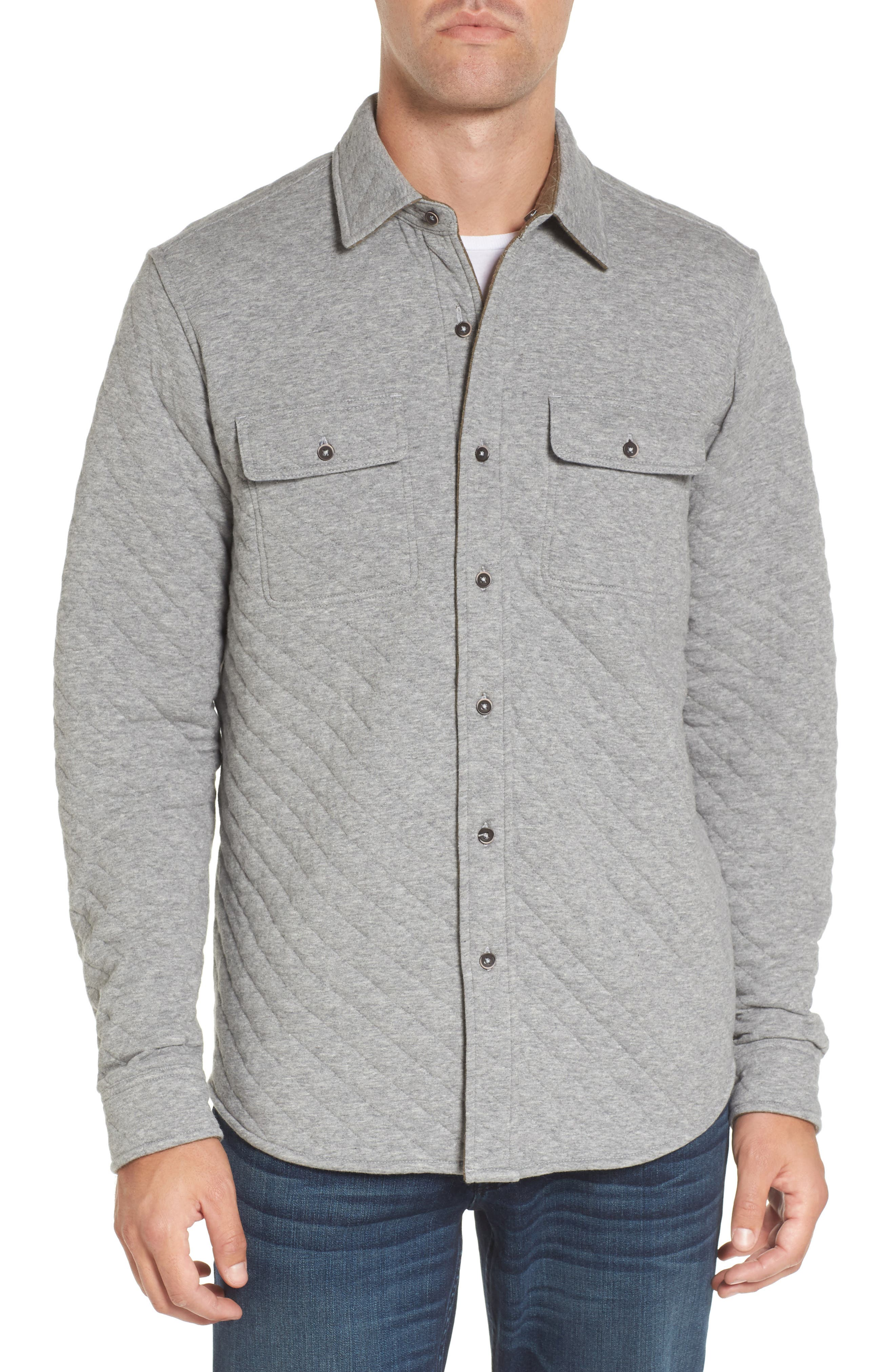 Reversible Double-Face Quilted Shirt,                             Main thumbnail 1, color,                             Med Grey Htr/ Army Htr Quilted