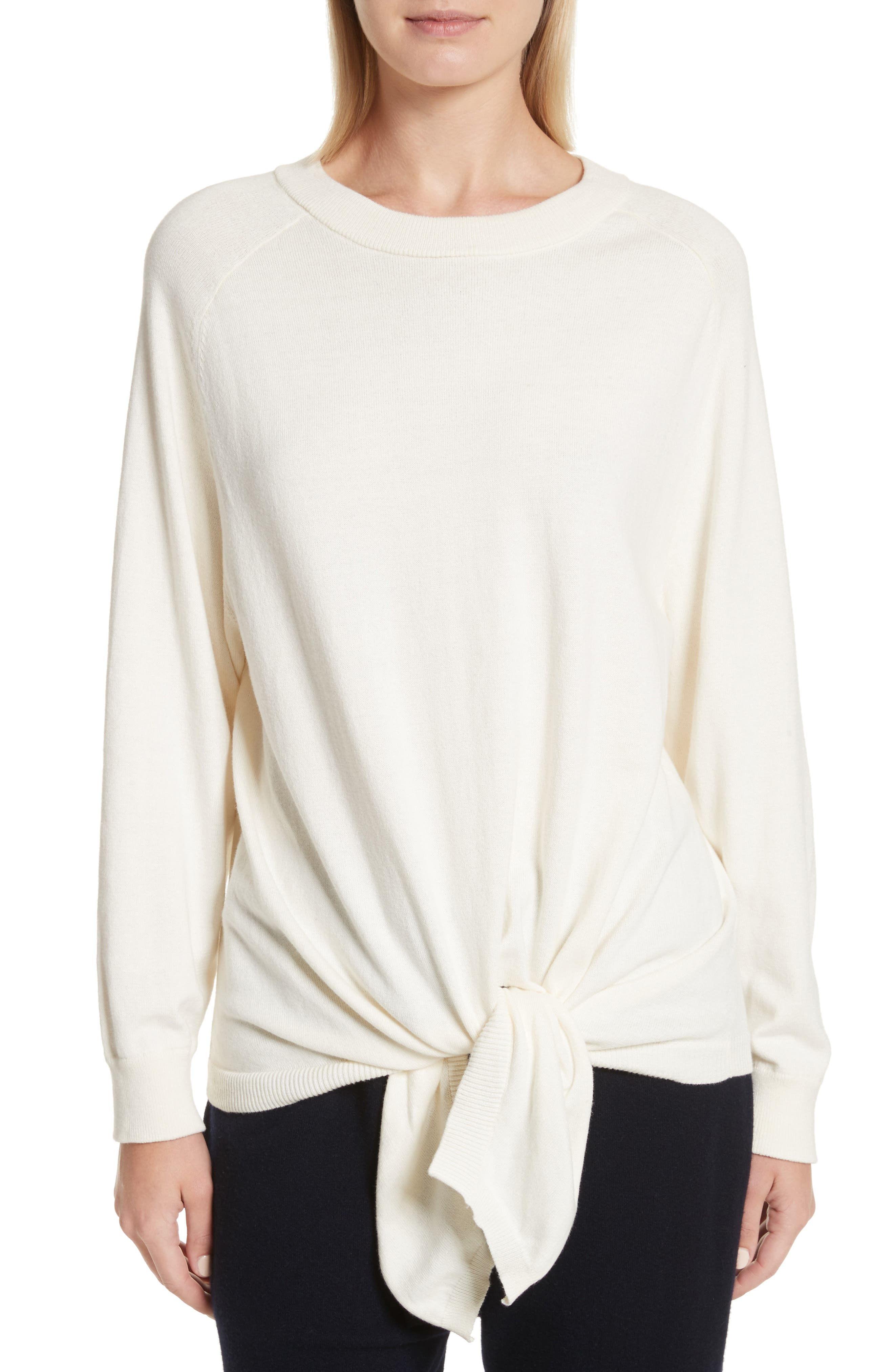Tie Waist Sweater,                         Main,                         color, Creme