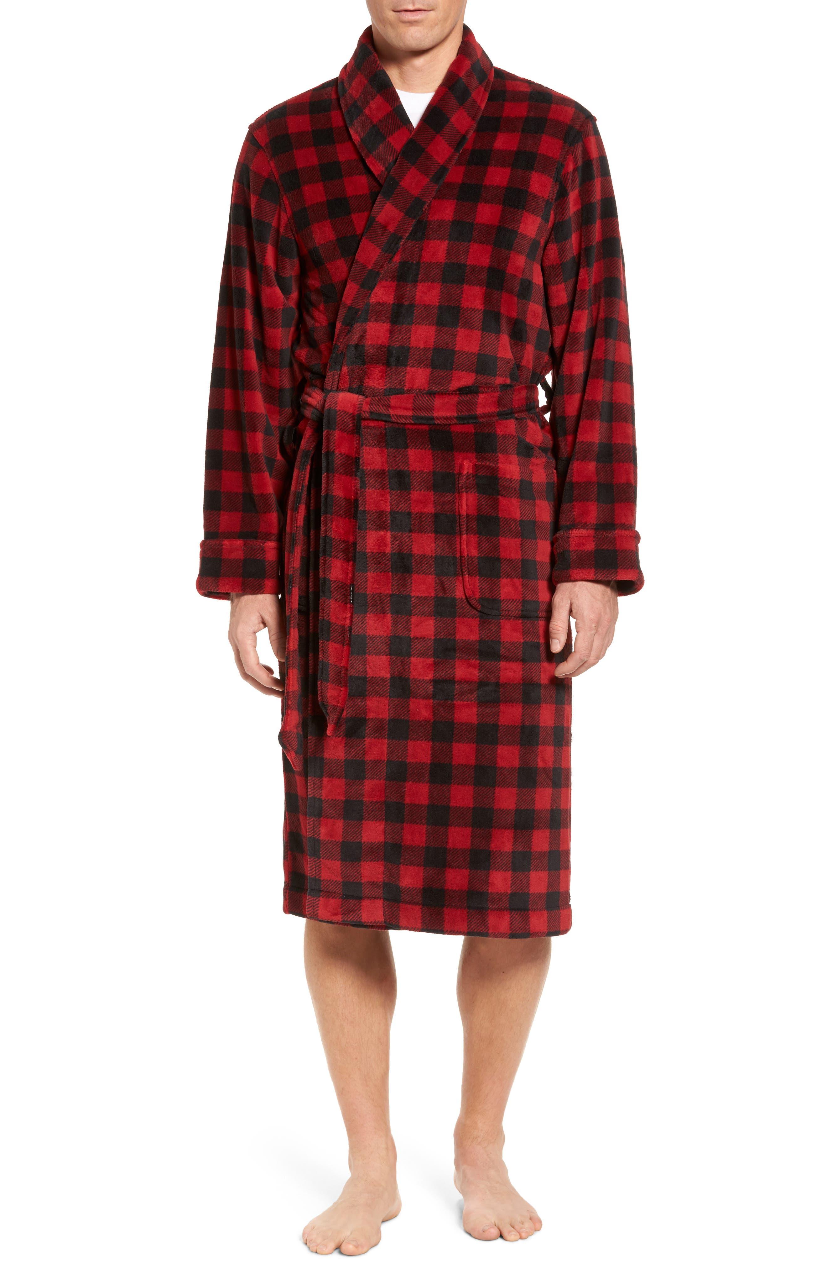 Nordstrom Men's Shop Buffalo Check Fleece Robe
