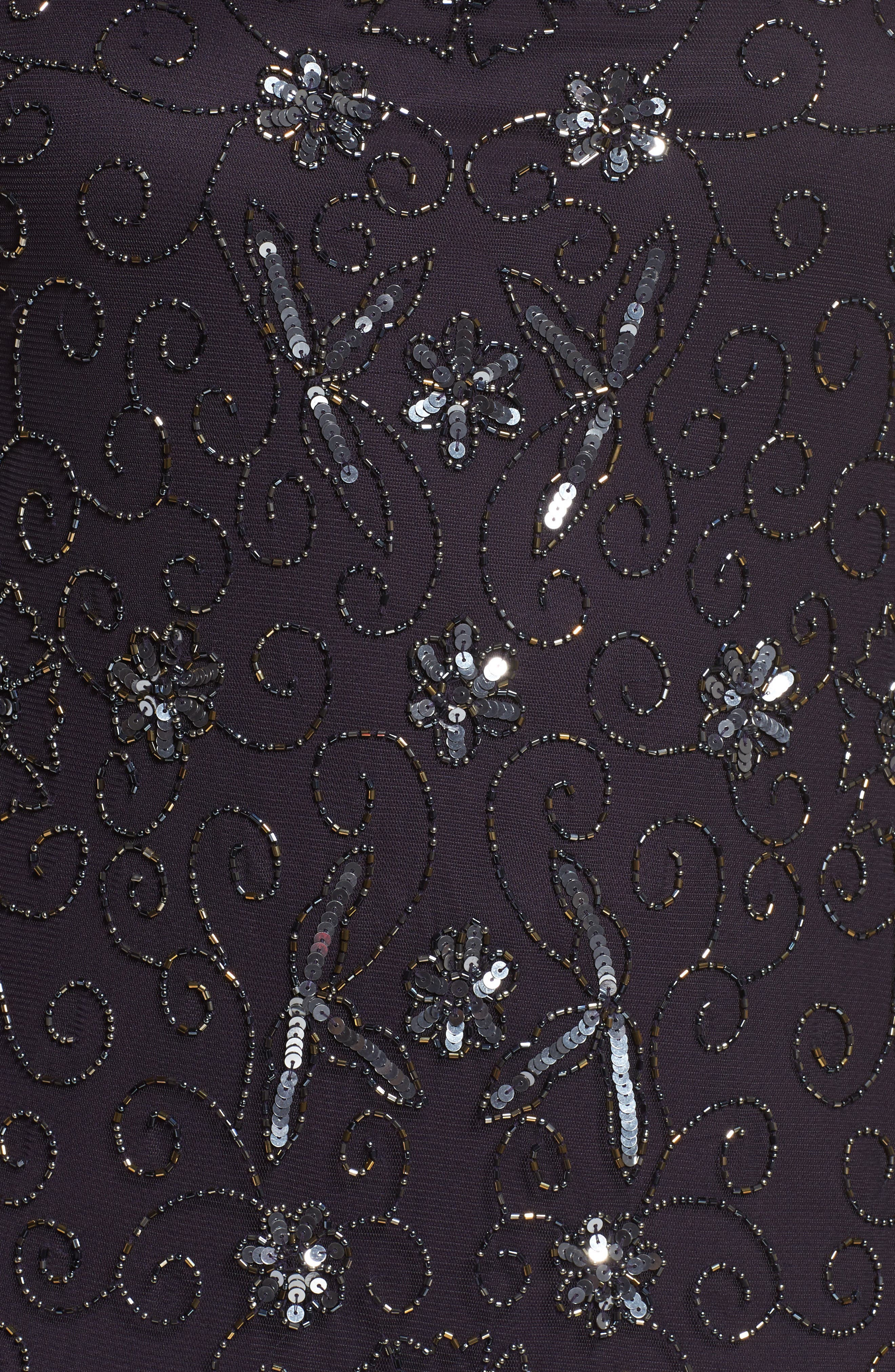 Alternate Image 5  - Pisarro Nights Embellished Mesh Godet Gown (Plus Size)