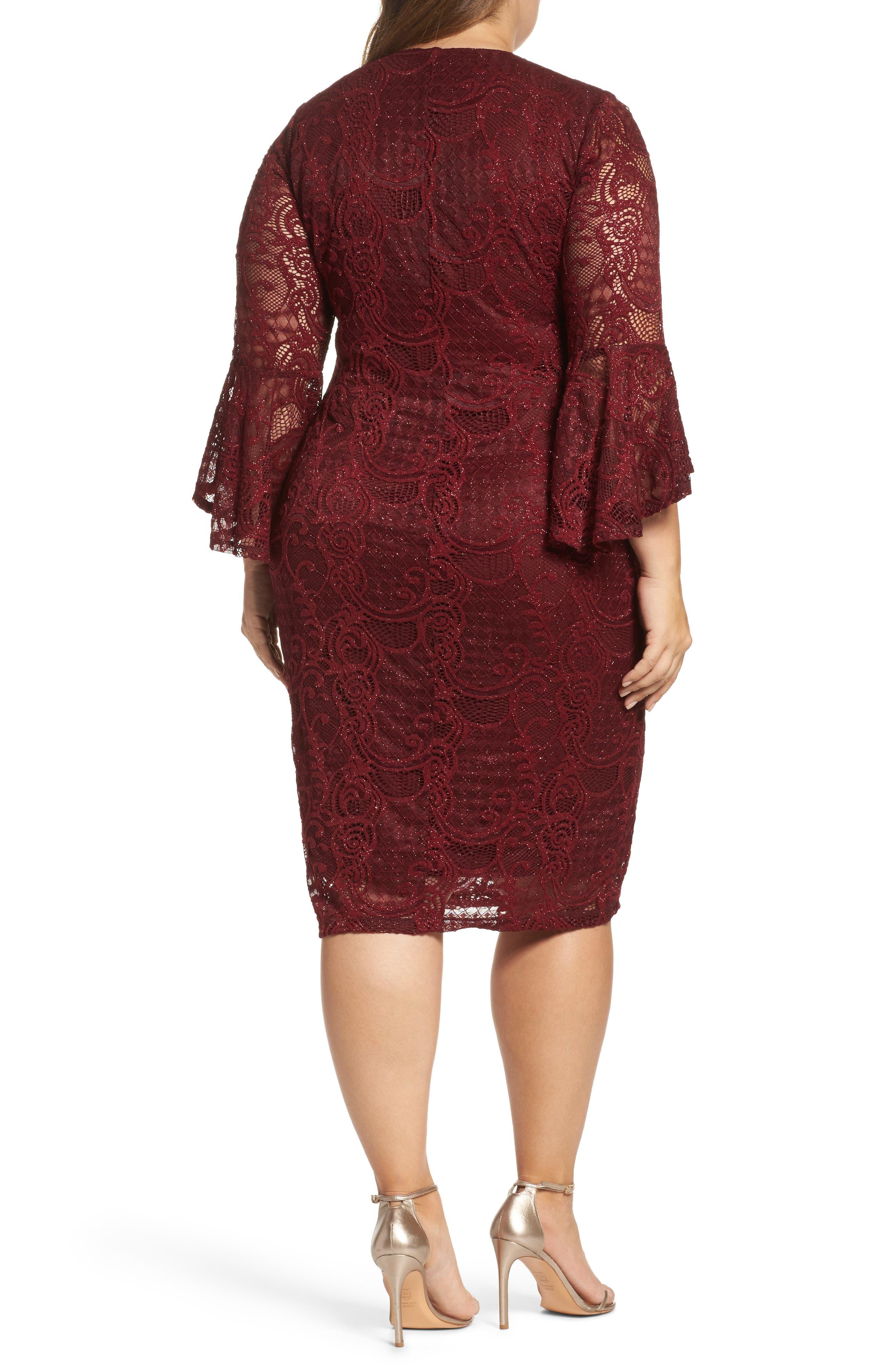 Alternate Image 2  - Marina Bell Sleeve Glitter Lace Sheath Dress (Plus Size)