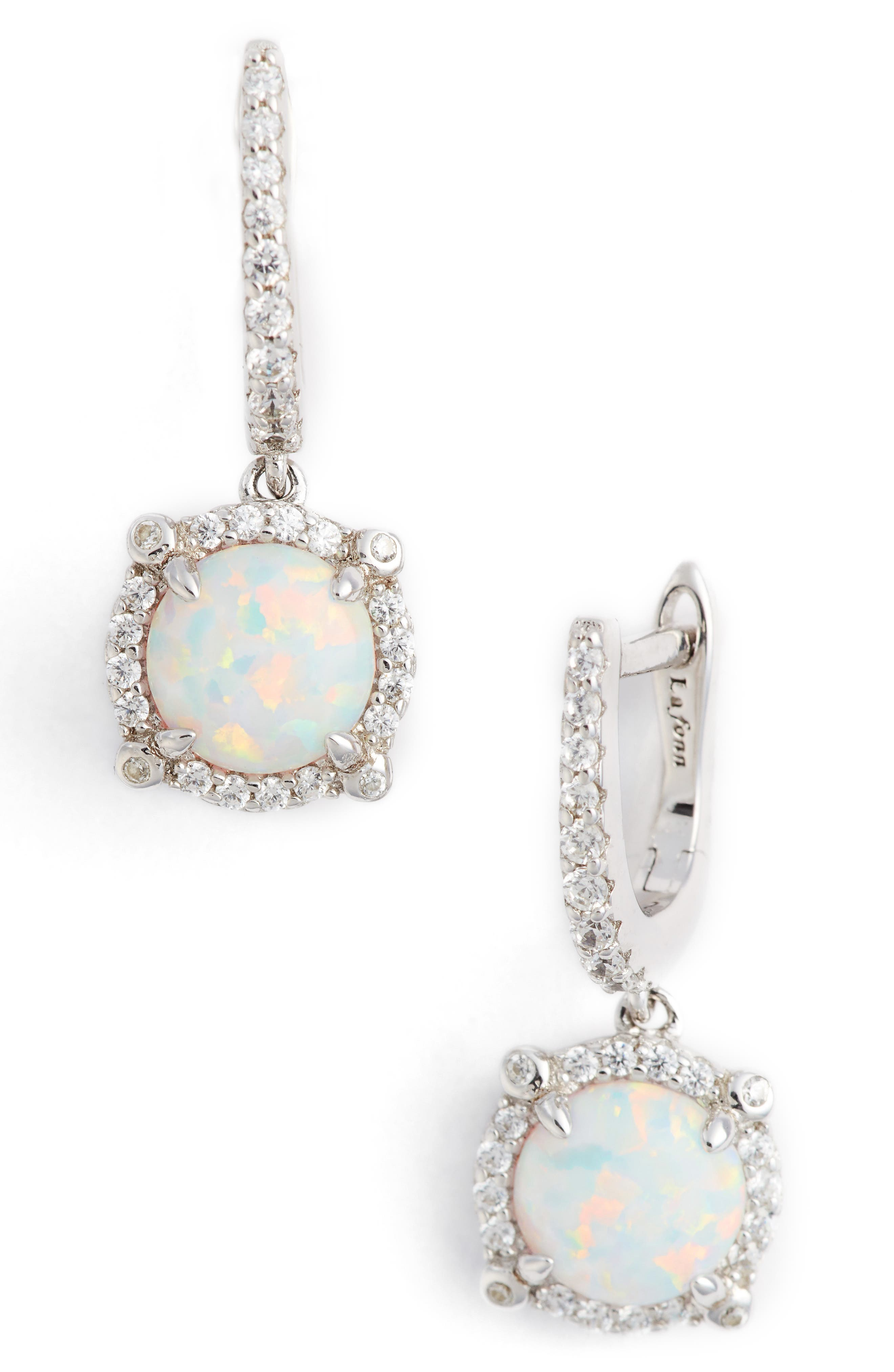 Simulated Diamond Drop Earrings,                         Main,                         color, Silver/ Opal/ Clear