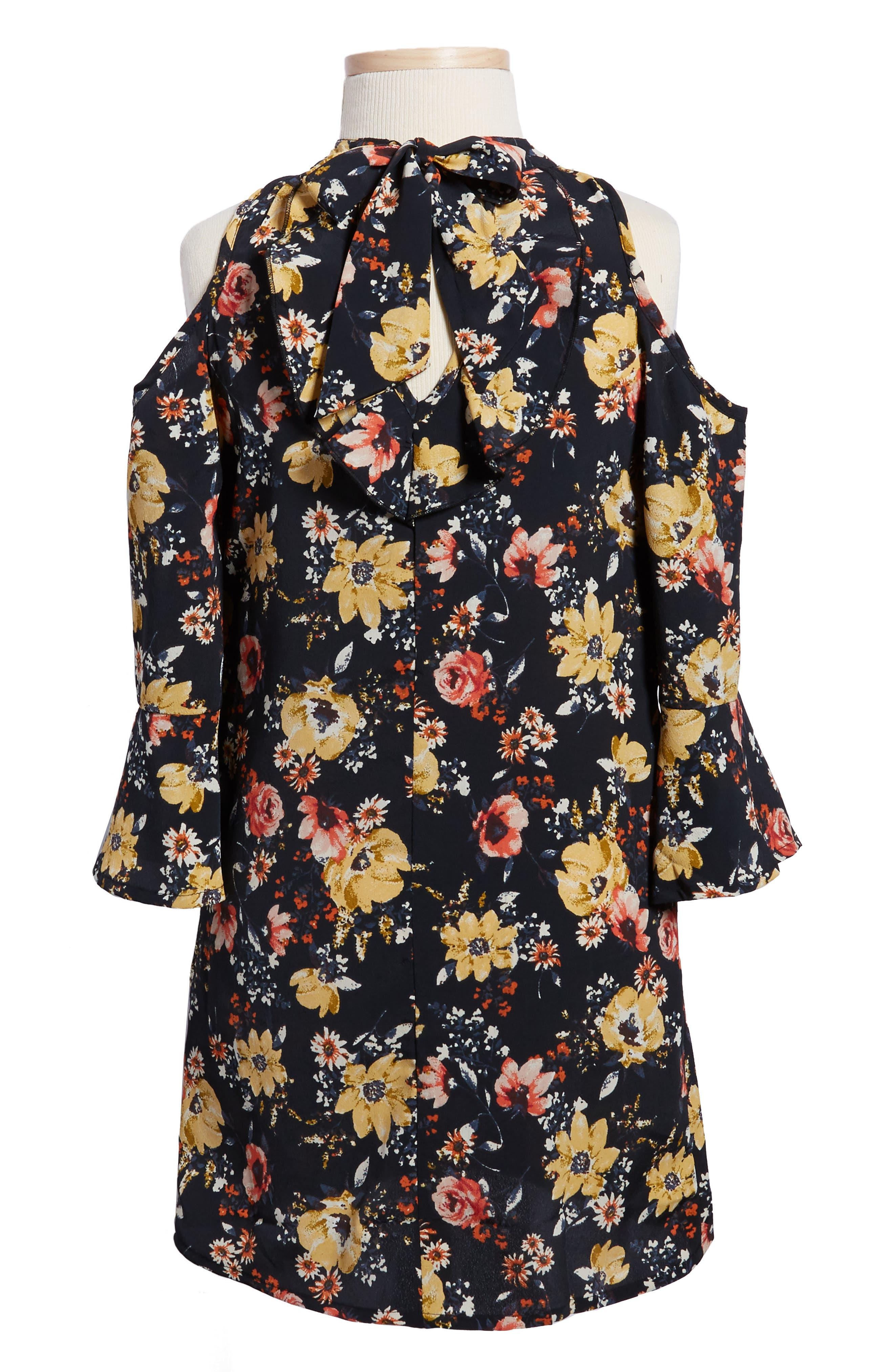 Alternate Image 2  - Zoe and Rose Floral Print Cold Shoulder Dress (Big Girls)
