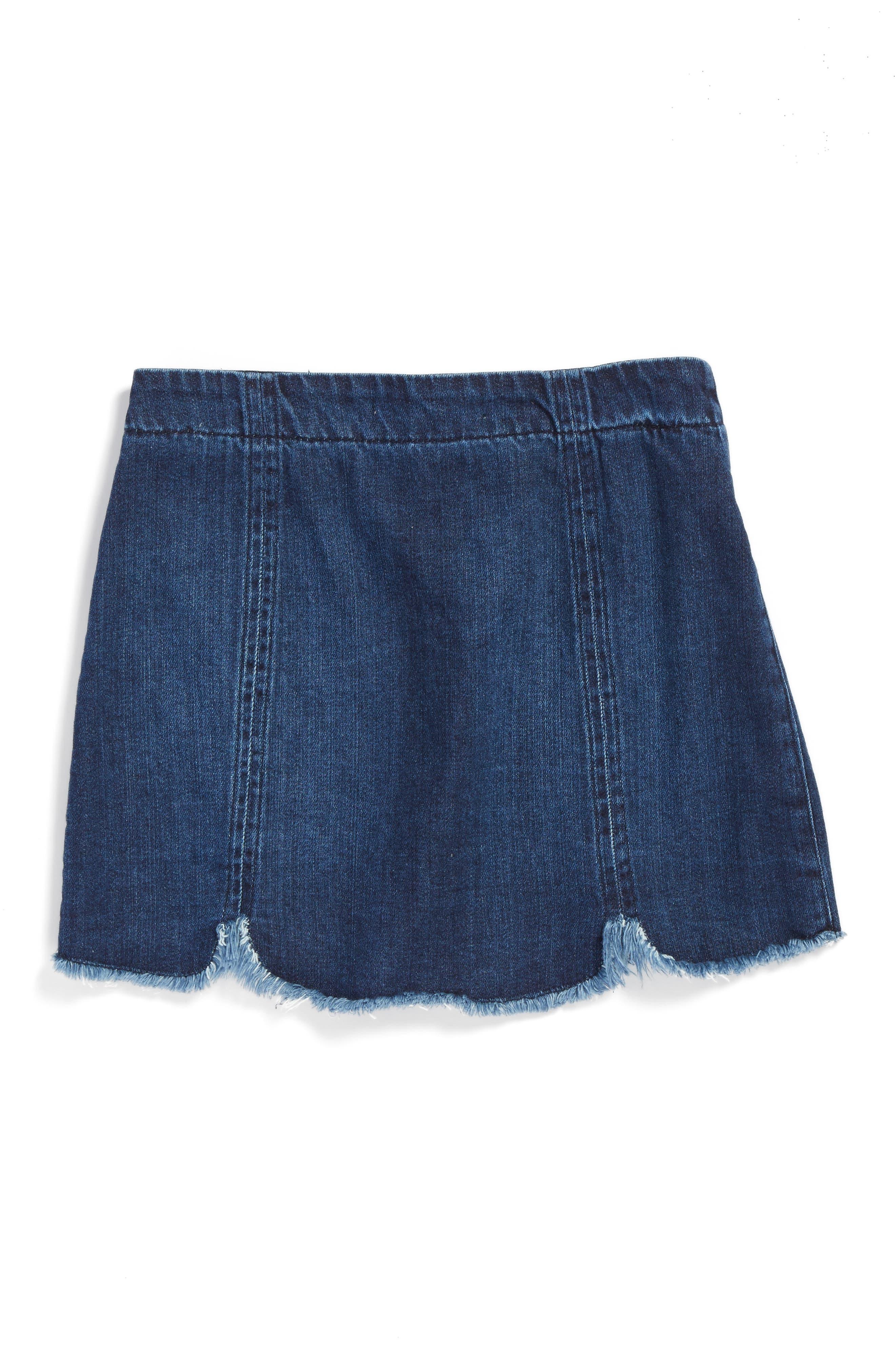 Alternate Image 2  - Tractr Frayed Scallop Denim Skirt (Big Girls)