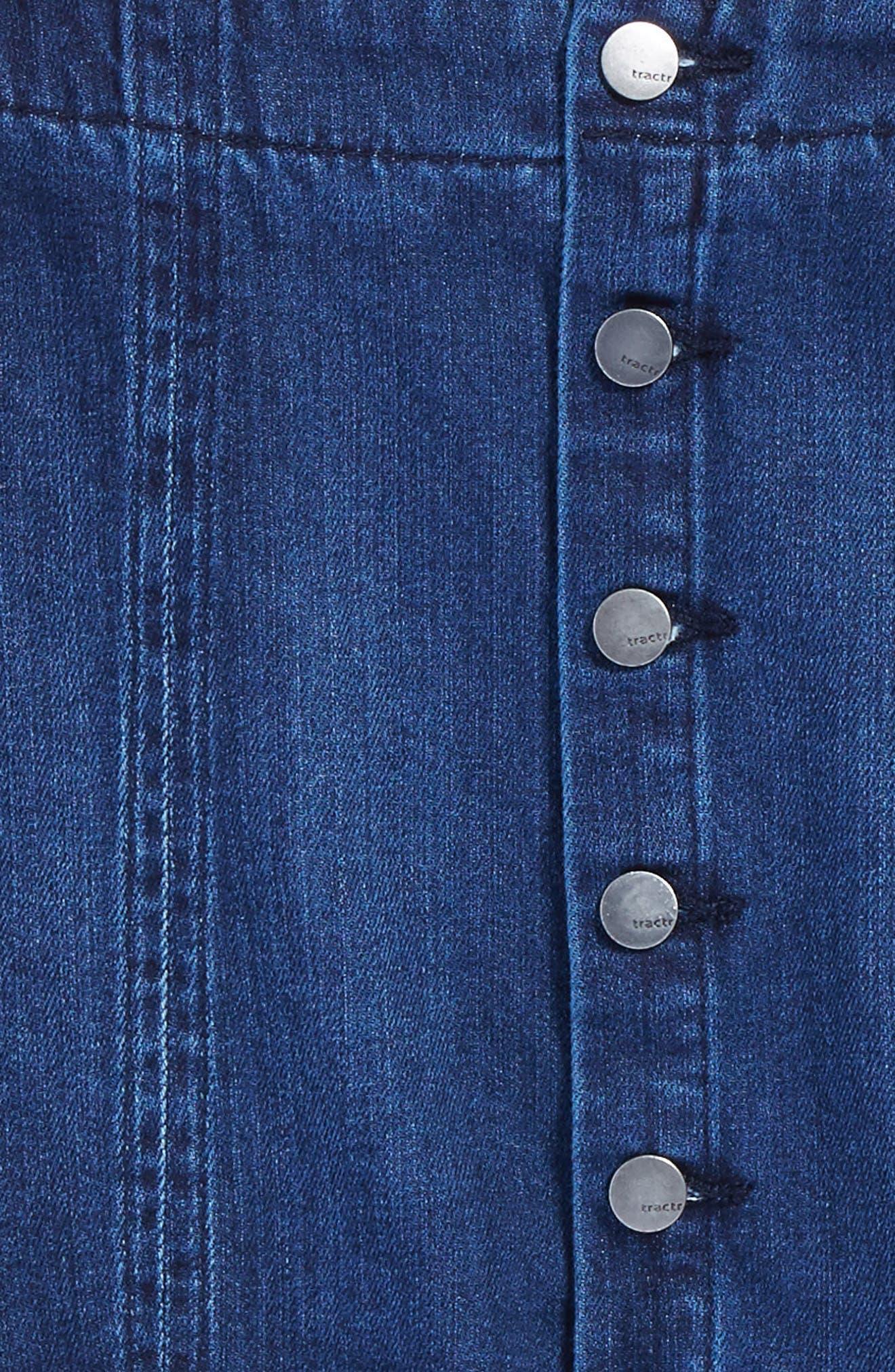 Frayed Scallop Denim Skirt,                             Alternate thumbnail 3, color,                             Indigo