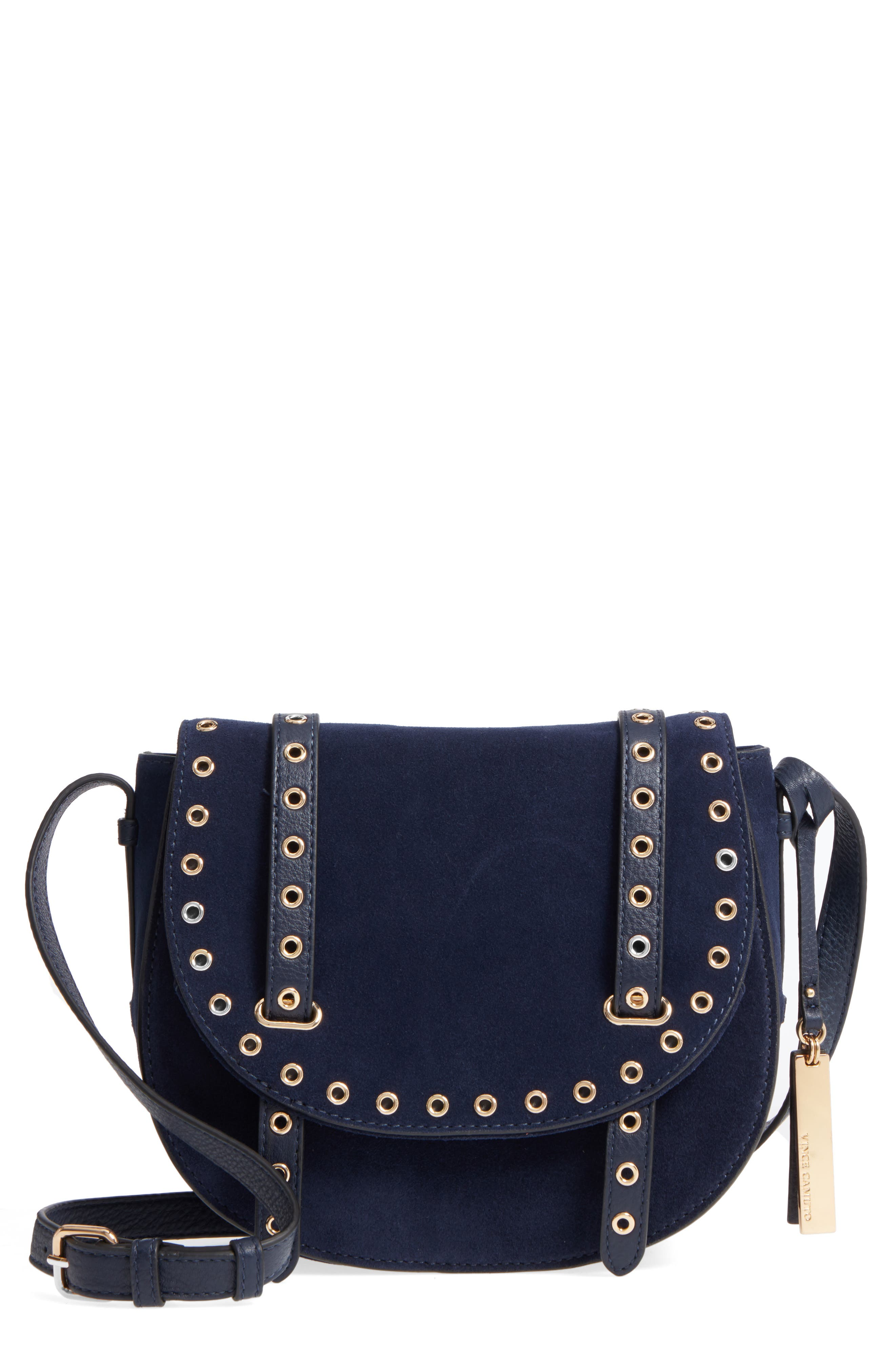 Areli Suede & Leather Crossbody Saddle Bag,                         Main,                         color, Winter Navy