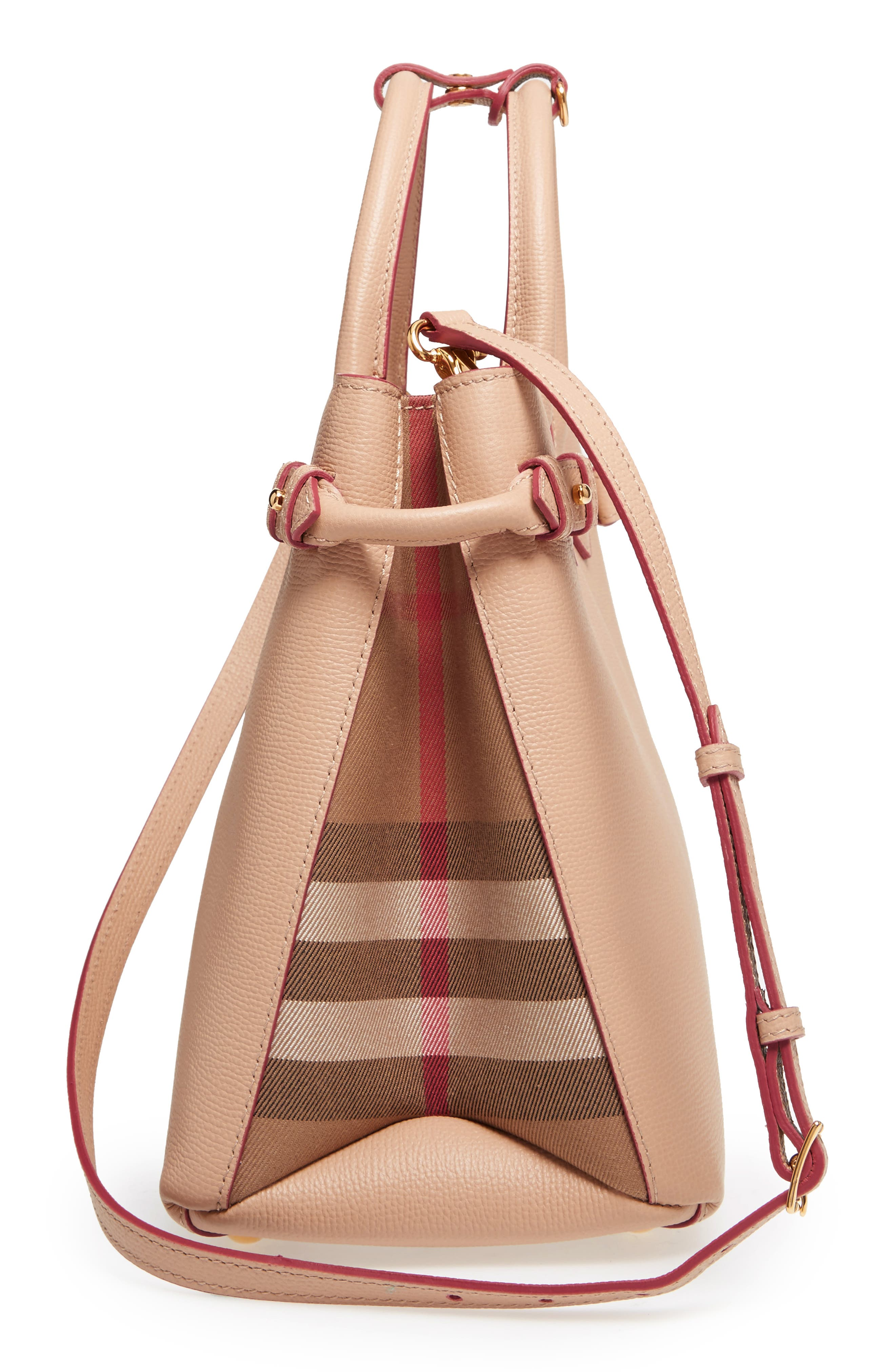 Medium Banner Check Leather Tote,                             Alternate thumbnail 5, color,                             Pale Appricot
