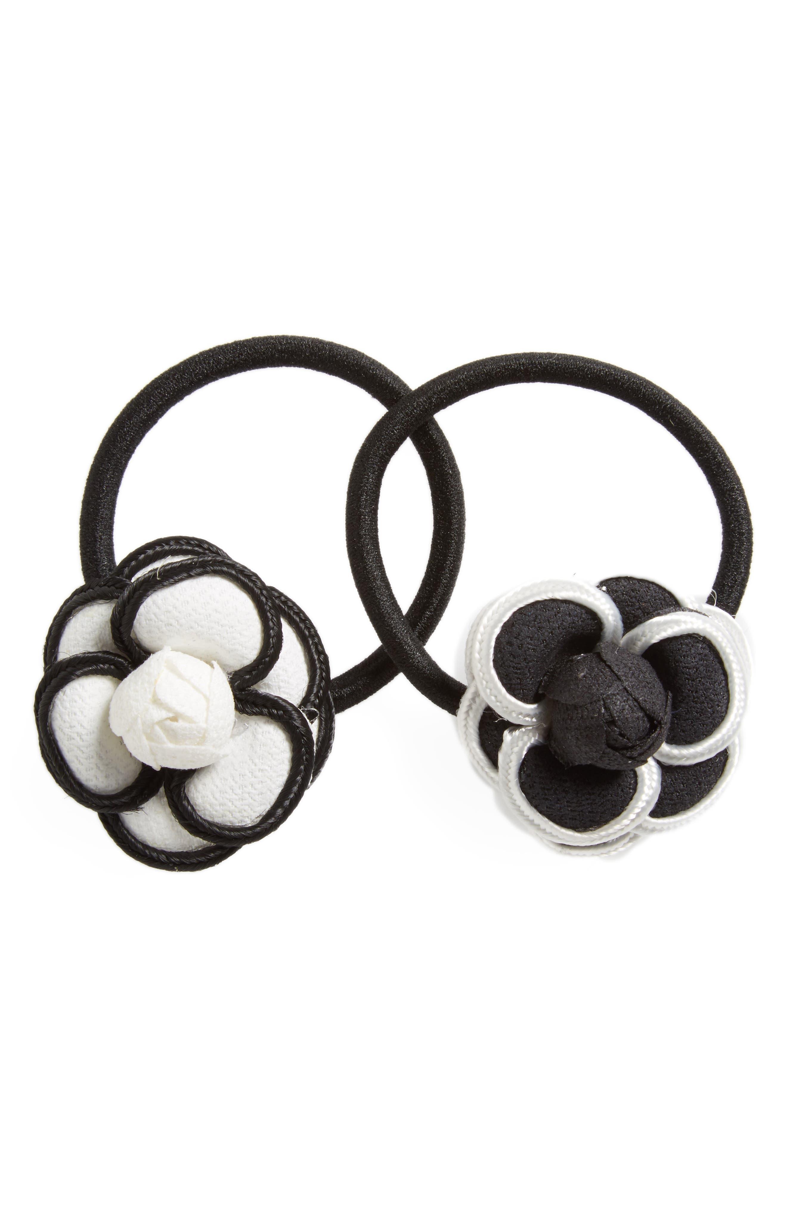 2-Pack Floral Ponytail Holders,                             Main thumbnail 1, color,                             Black/White