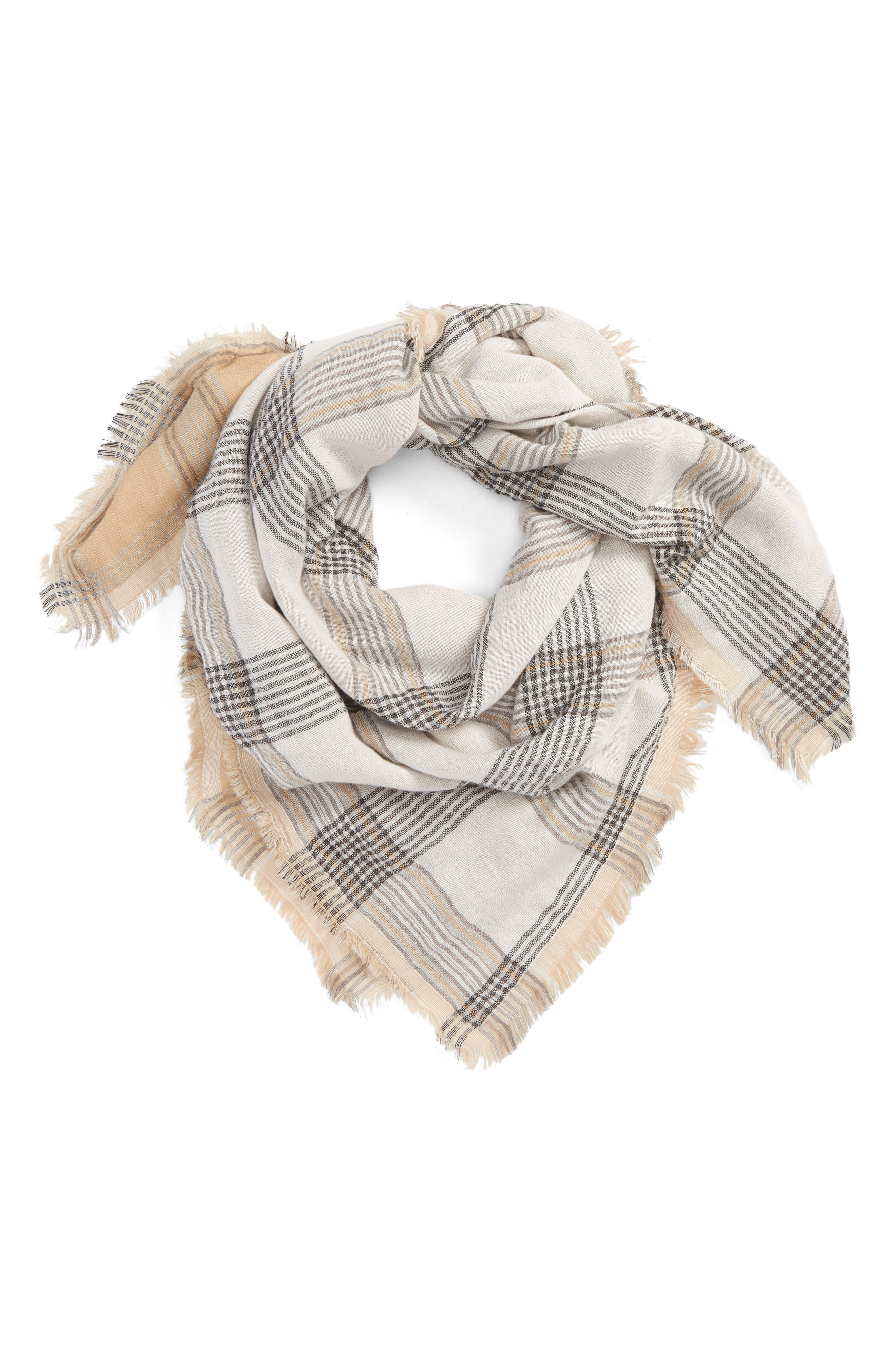 Reversible Plaid Scarf,                             Main thumbnail 1, color,                             Tan Multi