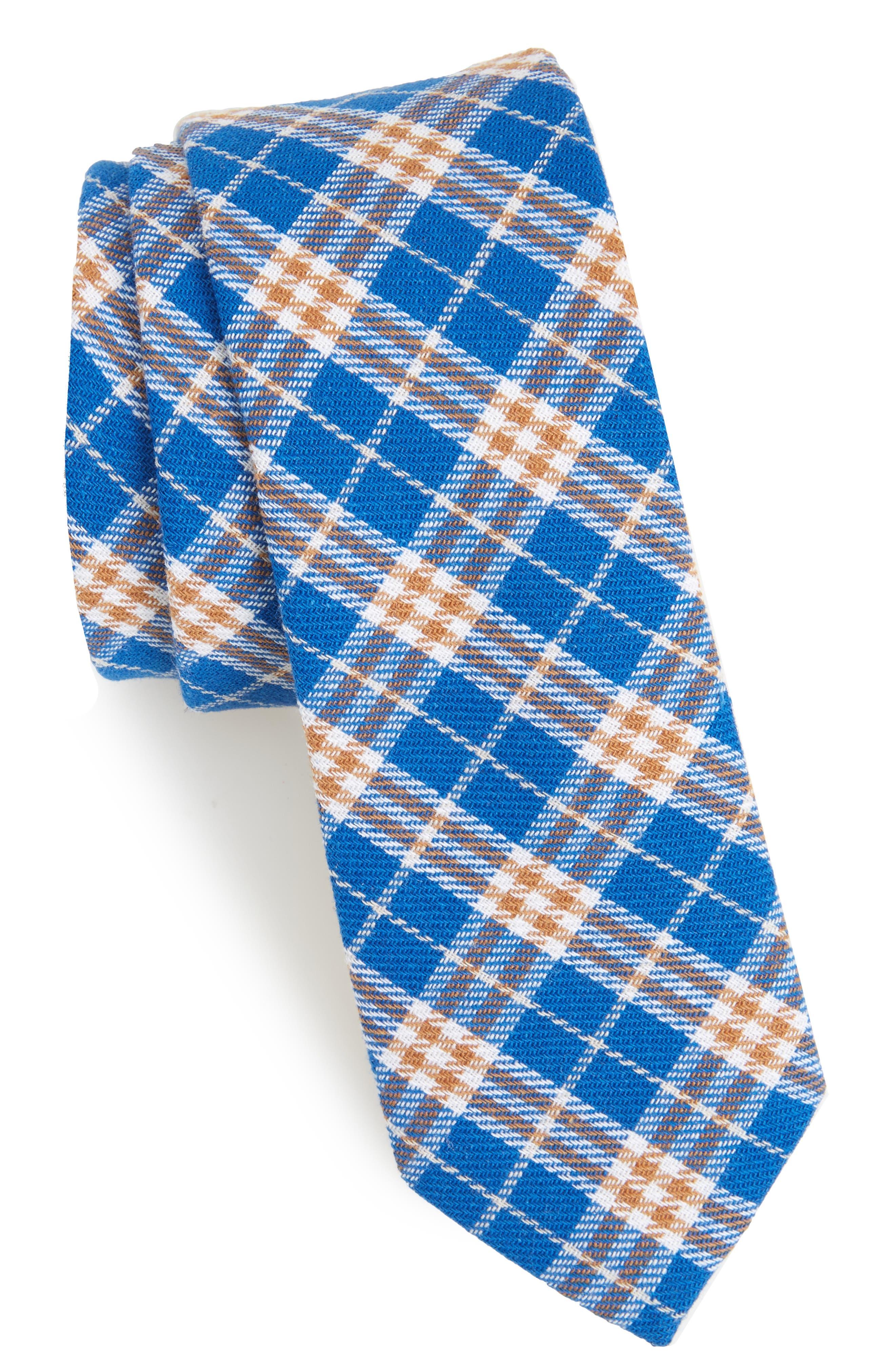 Siegel Plaid Cotton & Linen Skinny Tie,                             Main thumbnail 1, color,                             Blue