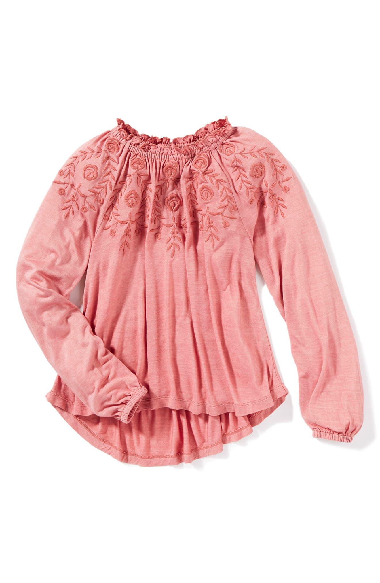 Main Image - Peek May Embroidered Top (Toddler Girls, Little Girls & Big Girls)