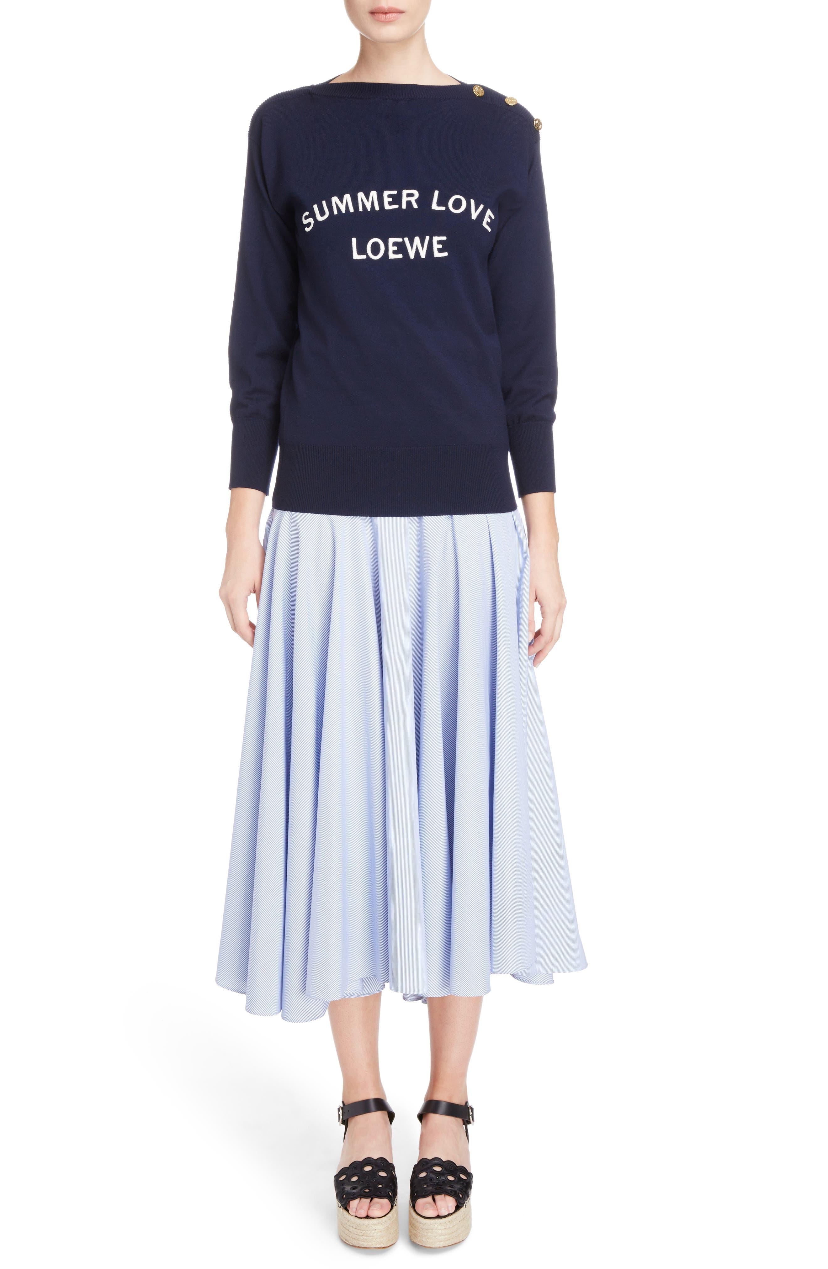Alternate Image 6  - Loewe Stripe Cotton Skater Skirt