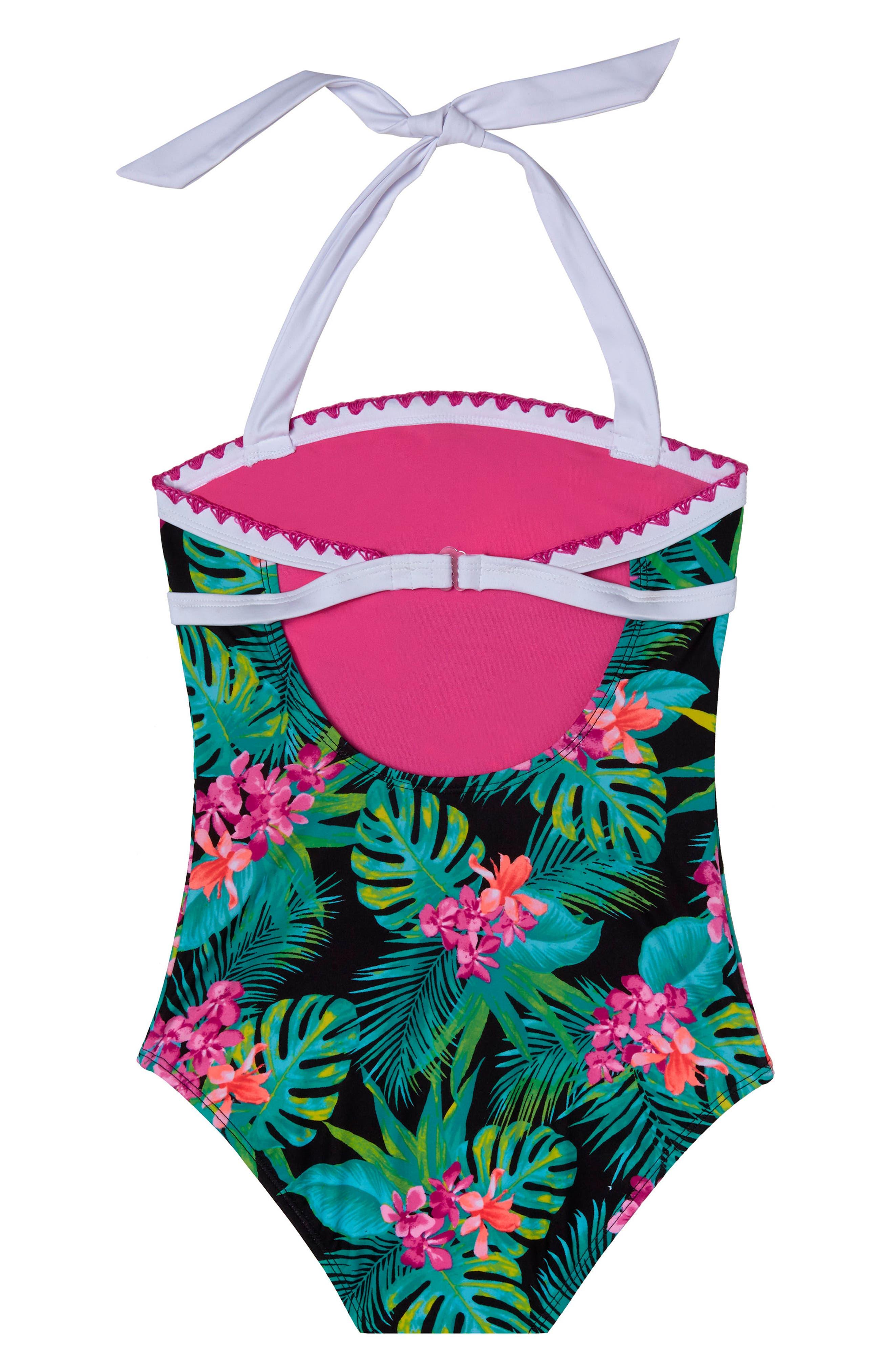 Tropical Escape One-Piece Swimsuit,                             Alternate thumbnail 2, color,                             Black