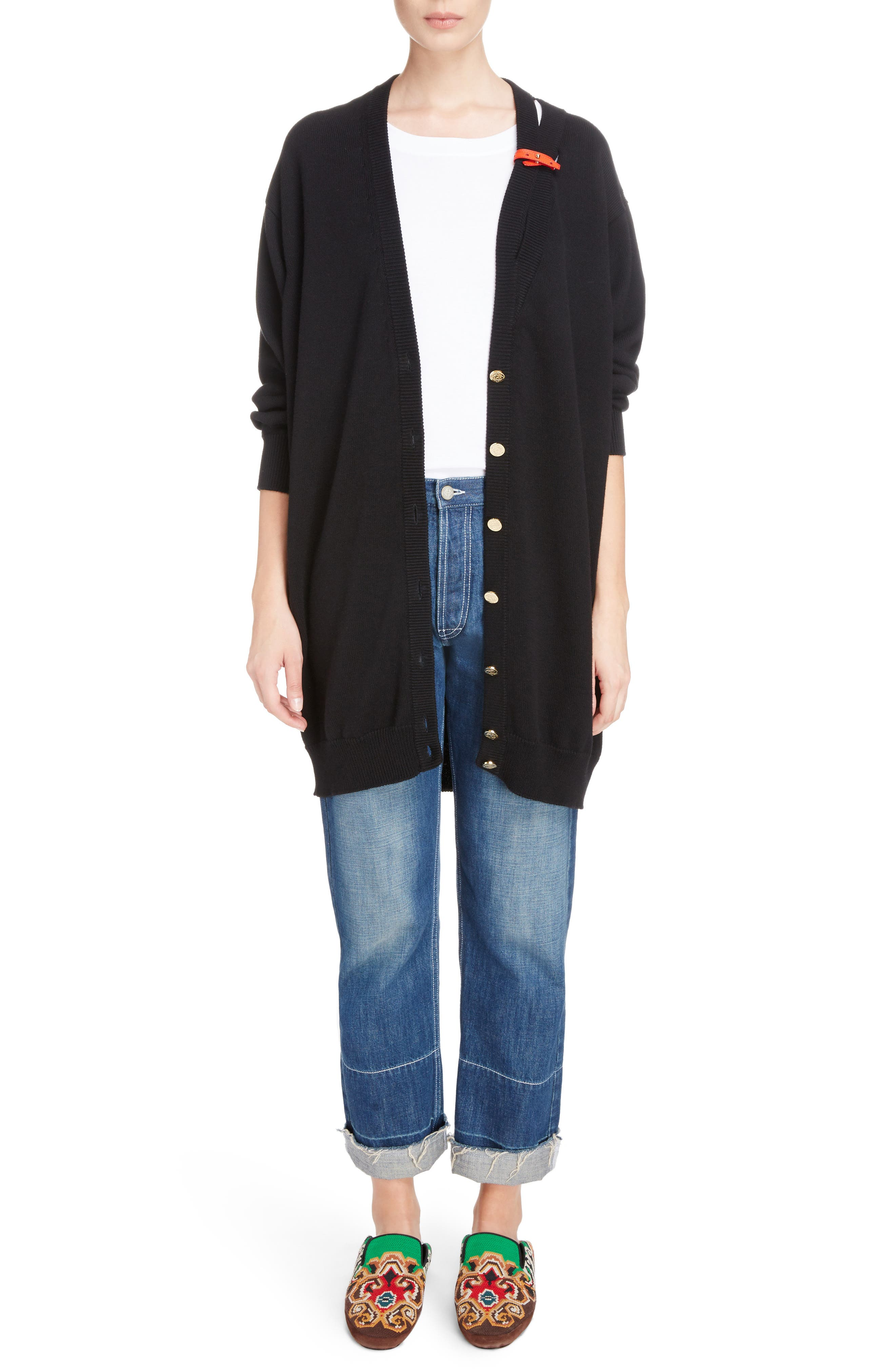 Embroidered Crop Straight Leg Jeans,                             Alternate thumbnail 3, color,                             Indigo