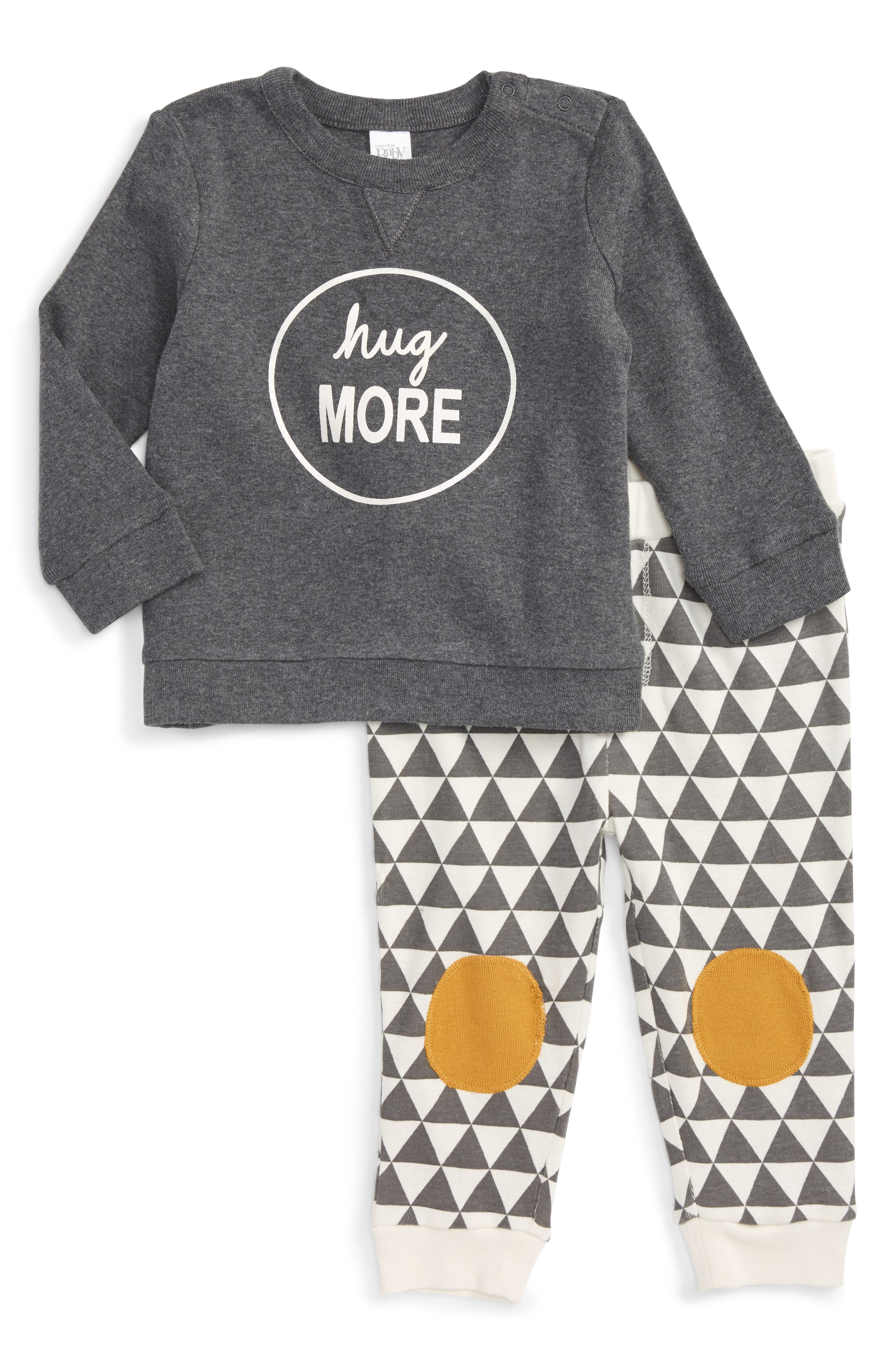 Graphic T-Shirt & Pants Set,                         Main,                         color, Grey Charcoal Heather Hugs